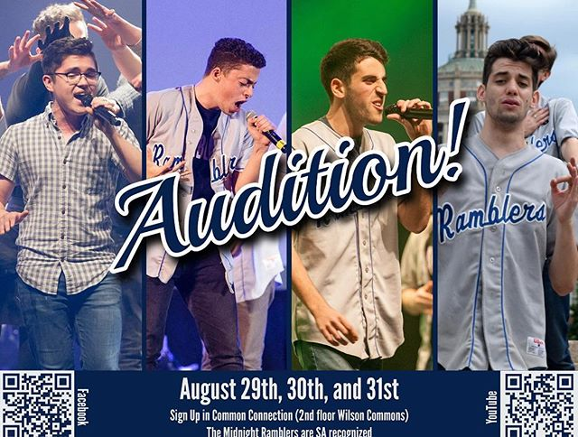 It's that time of the year again 🎉 Come audition for the Midnight Ramblers on August 29th, 30th, and 31st!  What you need to prepare for your audition:  A verse and a chorus of your favorite song. We would love to see something that really shows off your range, tone, vocal control, and stage presence.  Calling all BEATBOXERS: If you can drop a sick beat please mention it and show us what you've got!  How do I sign up? Head to Common Connections inside Wilson Commons and sign up at the desk for a time slot.  Email us at: midnightramblers@gmail.com