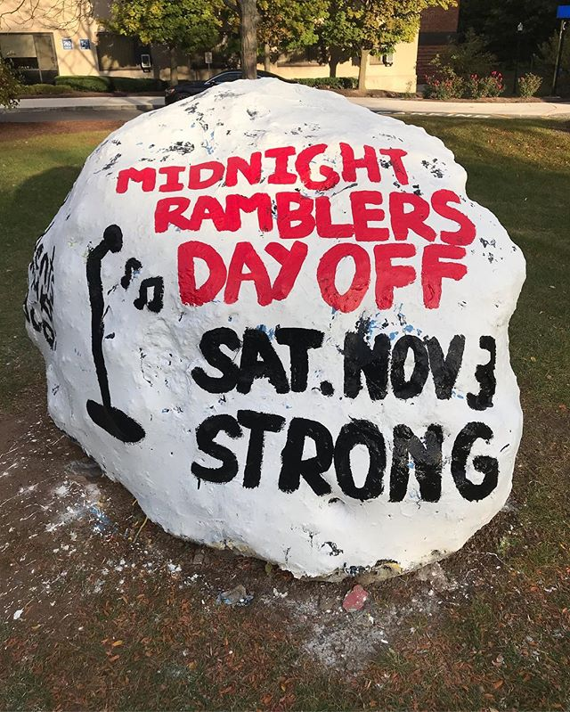 Rock: painted. Ramey: still needs to be saved. 11/3. 8 PM. Strong Auditorium. Midnight Rambler's Day Off. $8 Students @ Common Market. $10 General Public. #SaveRamey #MR