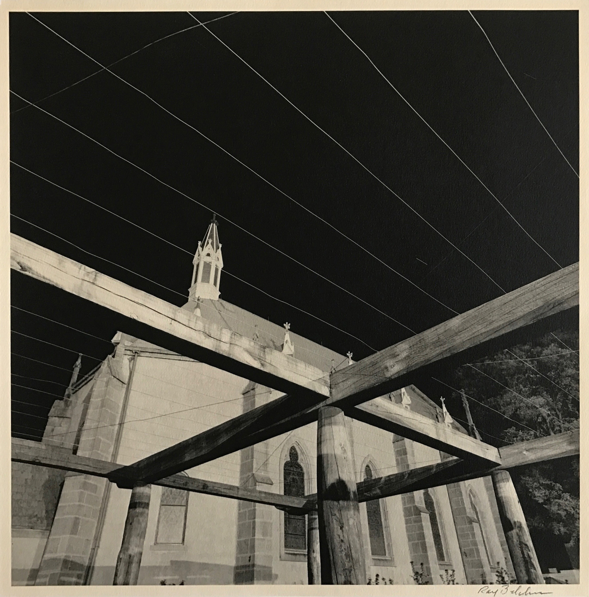 "RAY BELCHER | Loretto, by Night"" 1980  18x18  Silver Gelatin Print  #1 of 1 printed in 2009 on FOMA ""Chamois"""