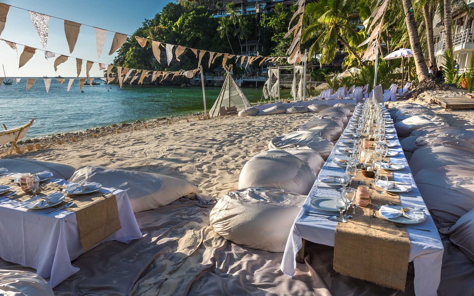 Beach picnic styled reception
