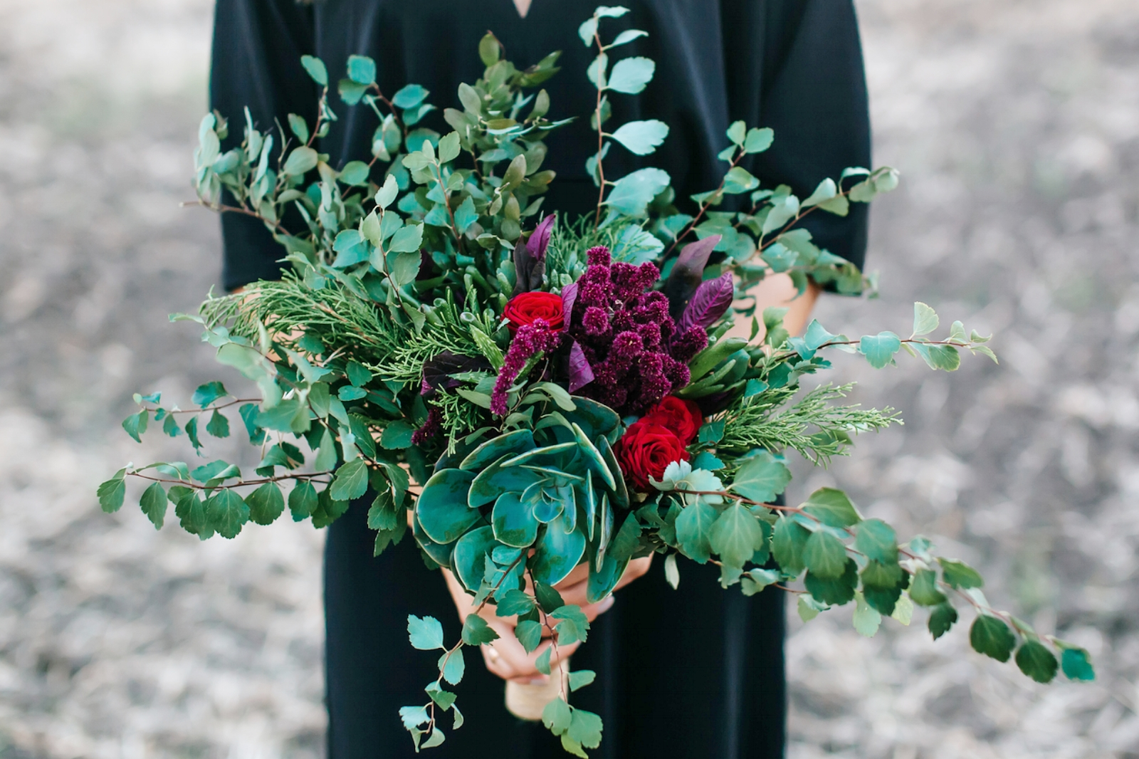 Eucalypts, succulents and local leaves make for a stunning beach bouquet.