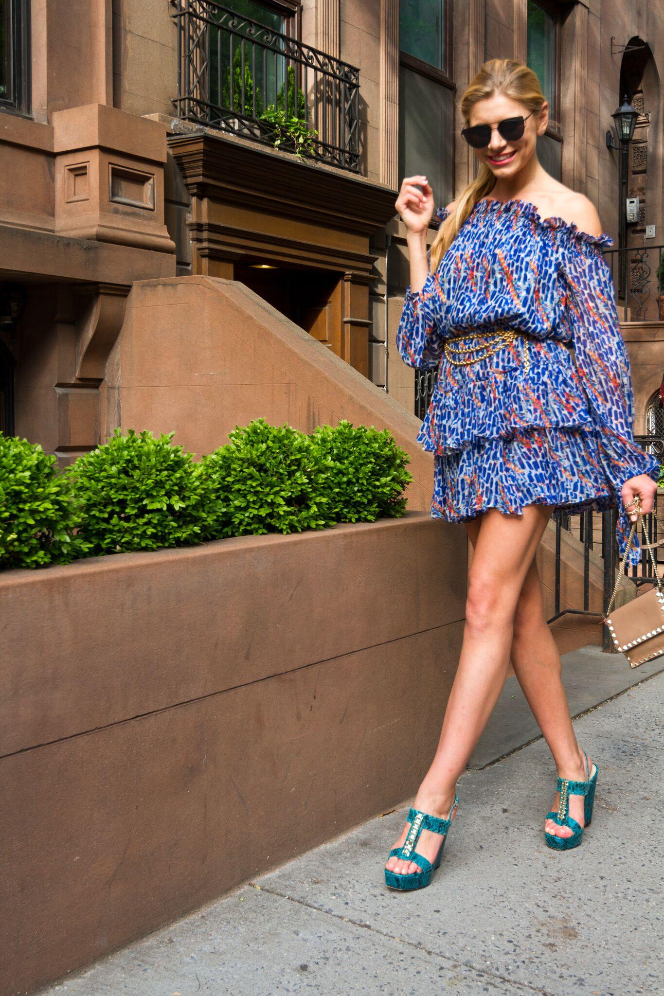 Caroline Constas Dress for Intermix  Stuart Weitzman Block Wedges
