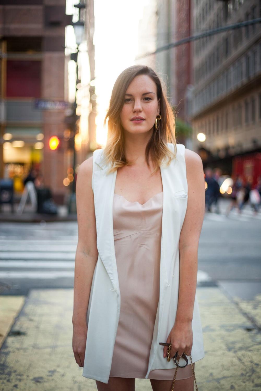 Kelsey Ives, Salmon Pink Dress, Zara   White Blazer, Shakuhachi ( Revolve.com )