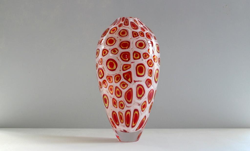 Cherry Red Windowed Murrine Vase.JPG