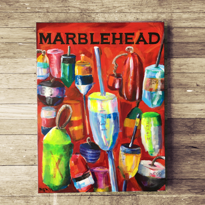 """""""Marblehead Buoys"""" painting and prints starting at $30"""