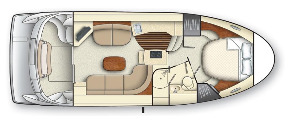 Lower cockpit, main level (salon) seating, bedroom & full bathroom.