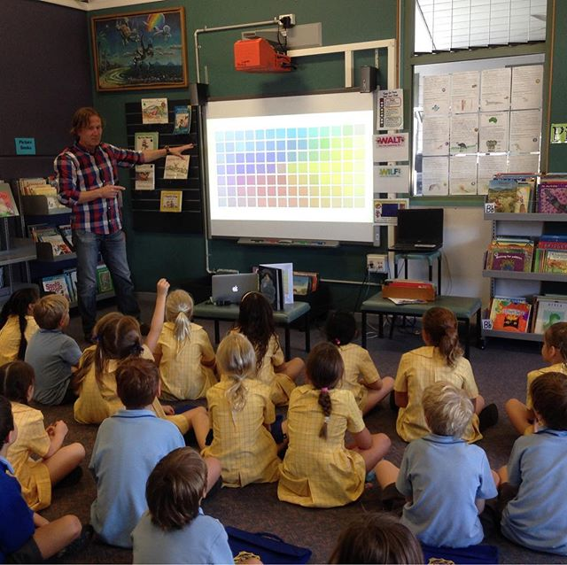 Presenting Danny Blue at Manly West primary school