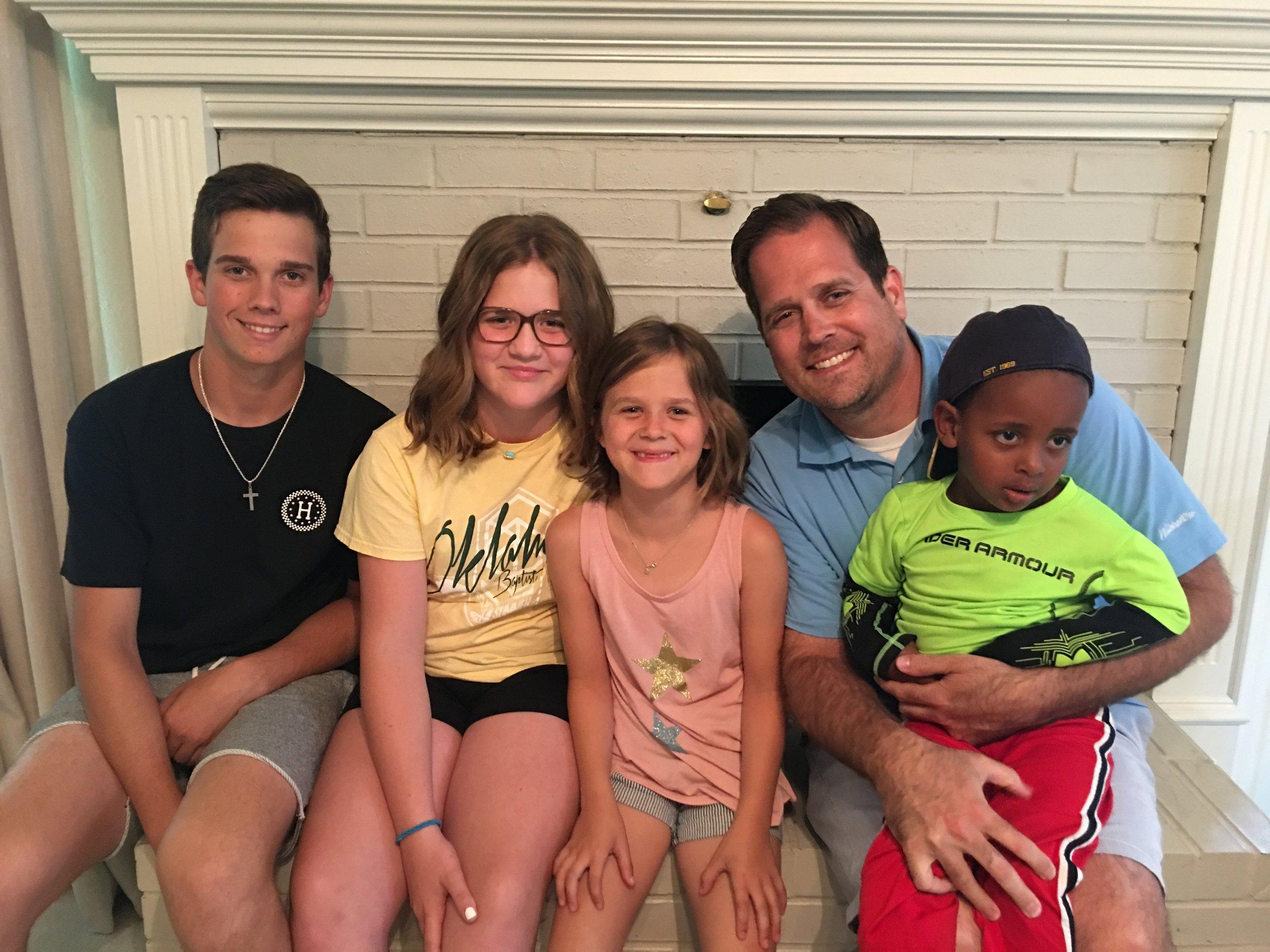 The Beyhmer Family: Jonathan and Sommer,Lane (15), Sloane (12), Brier (8),  Brooks (3).