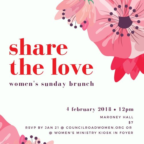 Sunday Brunch - February 4, 2018 | Moroney HallOur mission is to create opportunities for women to connect with God and each other. Our Sunday brunches are for just that; connecting with old and new friends and leaning into a closer relationship with God.It's not too late to reserve your spot, but hurry!Registration closes tonight.
