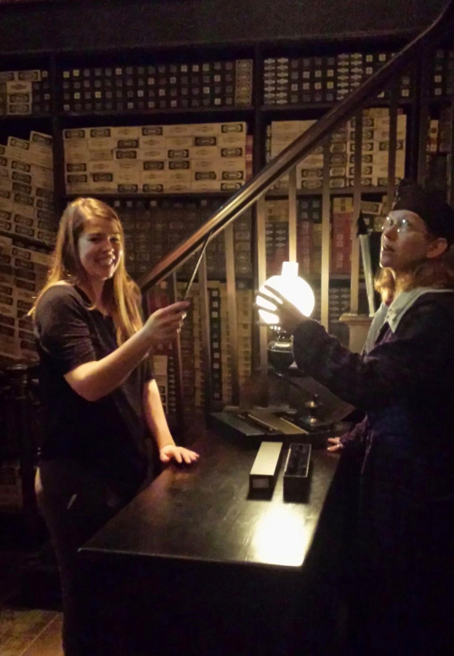 Because dreams come true, I was chosen during the wand presentation at Harry Potter World. As you can see from the expression on my face, life cannot possibly go up from here.
