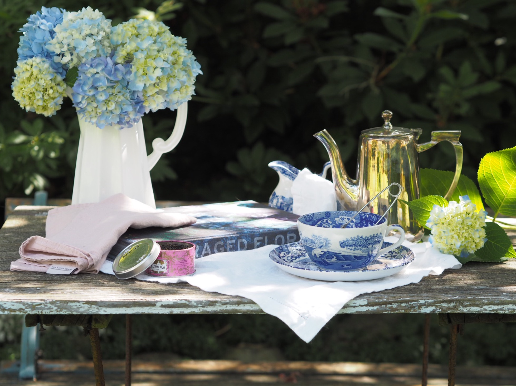 Tea in the garden with blue and white china