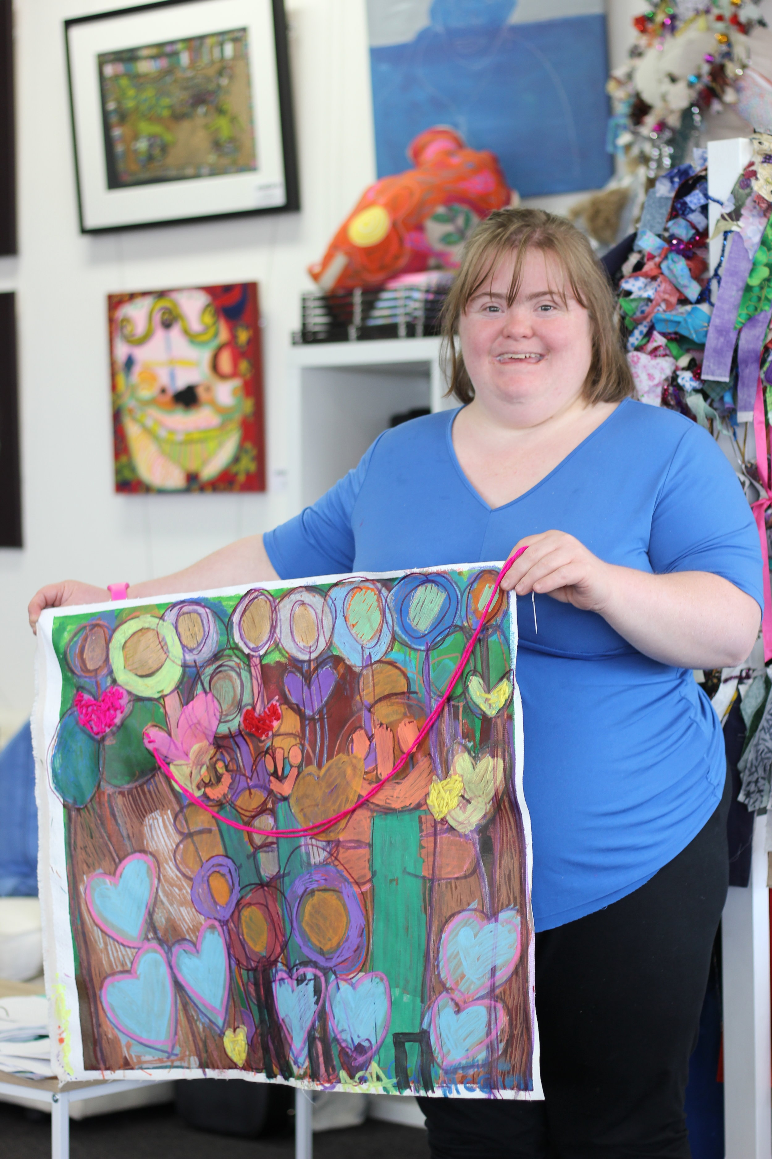 """I've been doing art for ages and ages. These are my ""Fairies Forests"". I am a great, great artist. I sew my artwork. I come here every every Tuesday with Emma and Gab. Sometimes we hang out with our friends. I love this place, it's very good for us"" - Catherine"