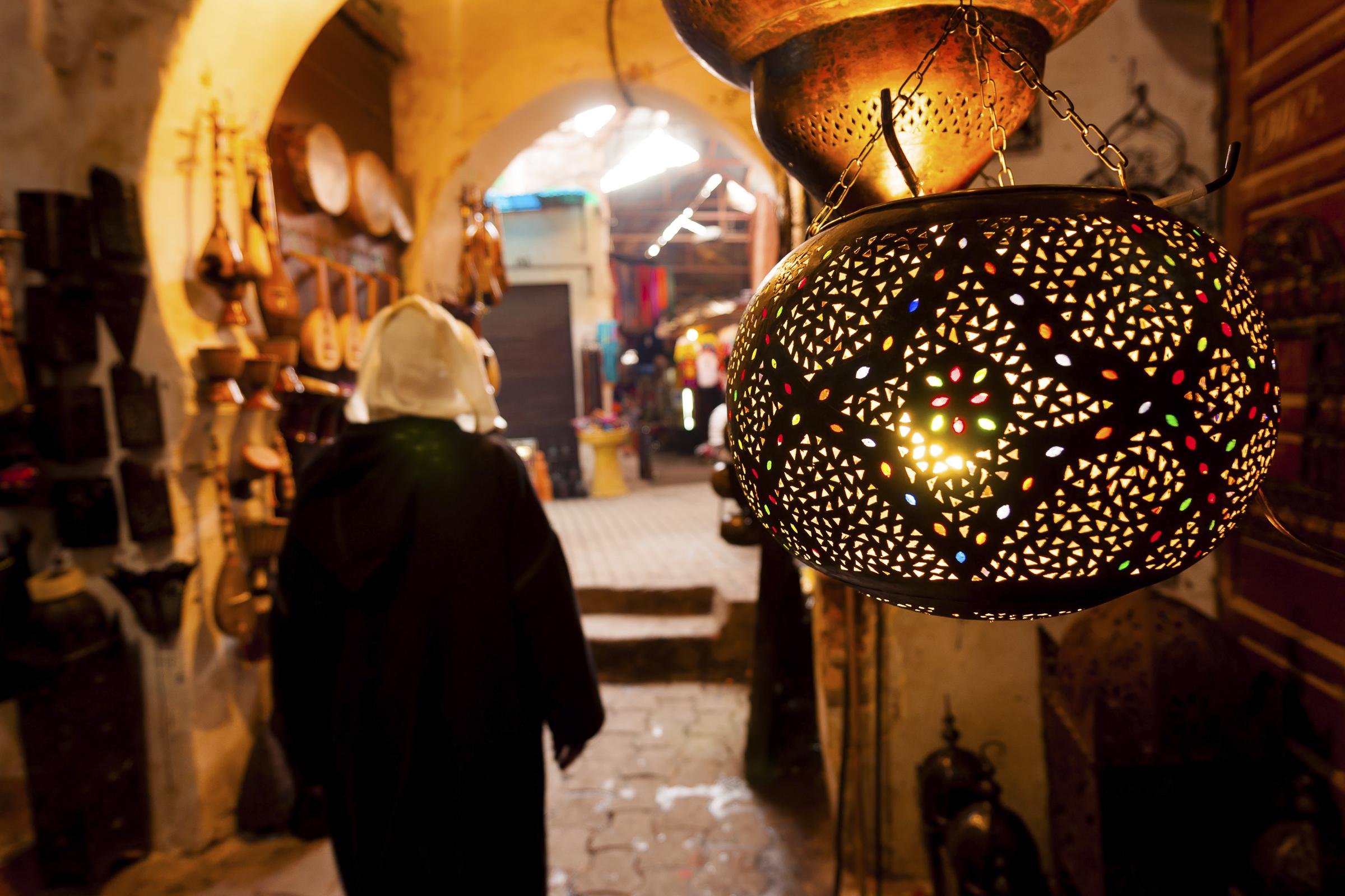 Lantern shop in Marrakech souk