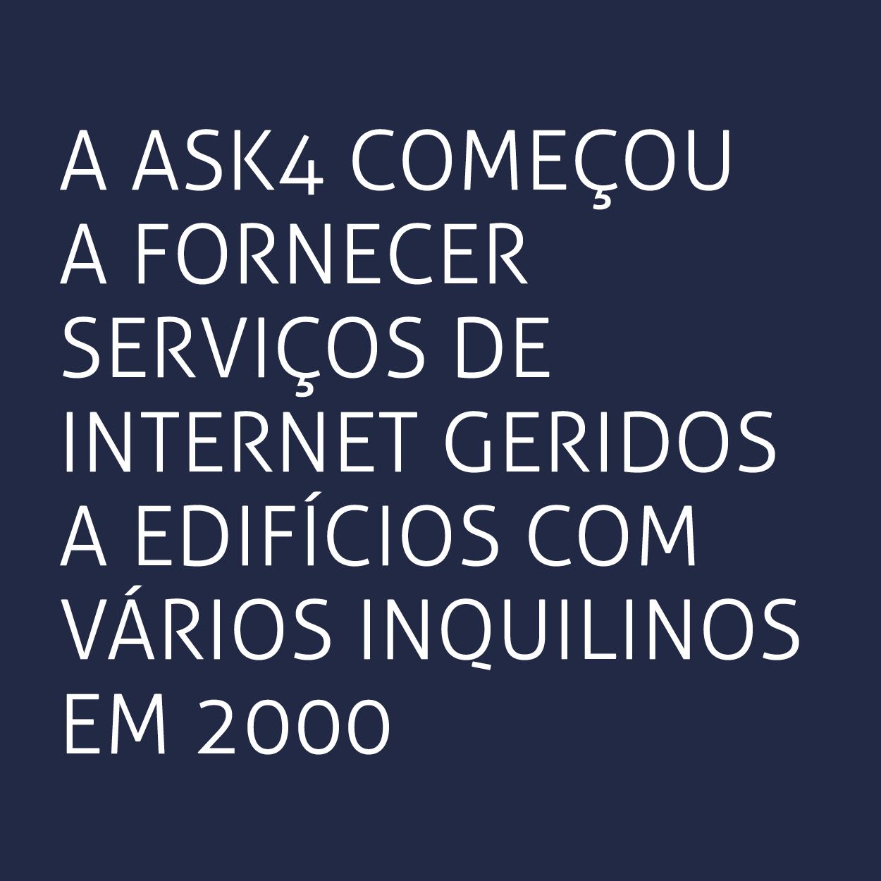 A ASK4 começou a fornecer serviços de Internet geridos a edifícios com vários inquilinos em 2000