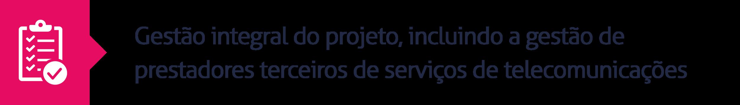 5.Gestão integral do projeto, incluindo a gestão de prestadores terceiros de serviços de telecomunicações