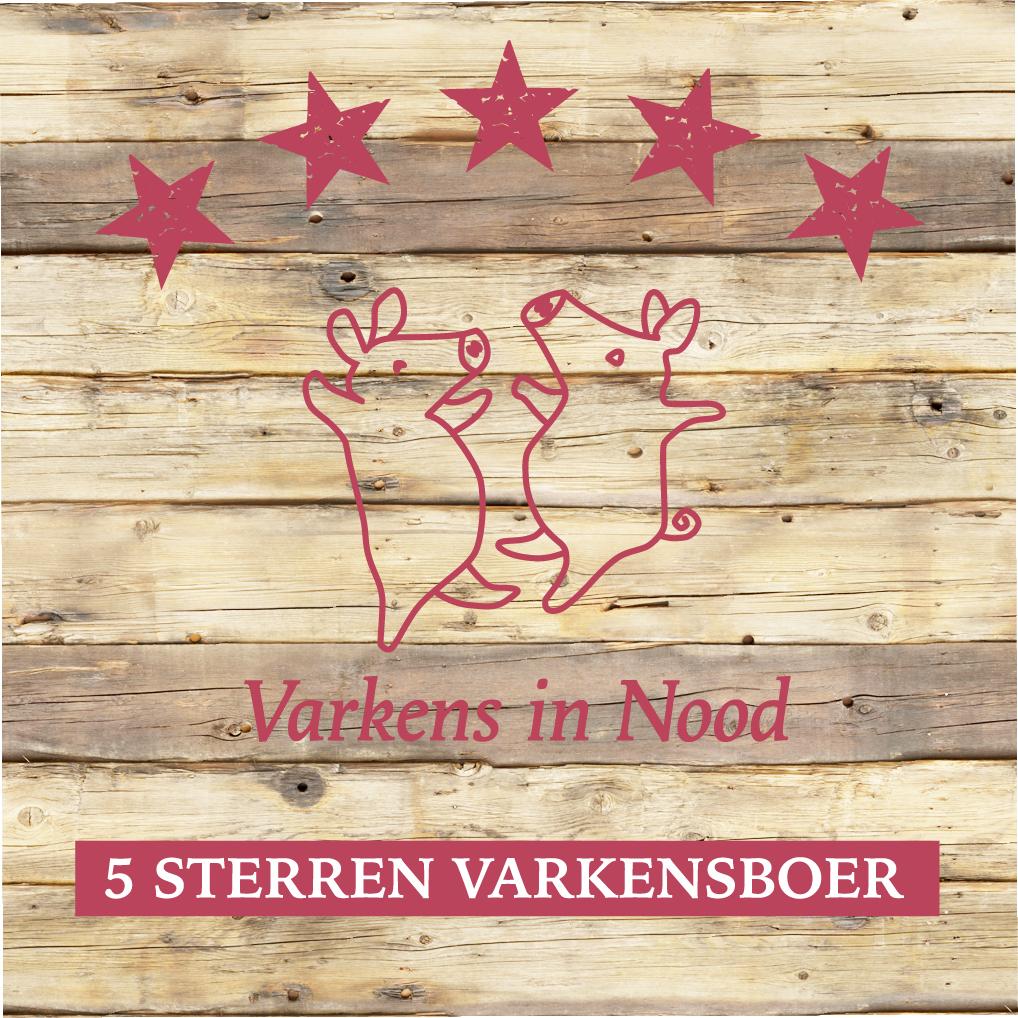 """""""5 sterren varkensboer"""" - Door Varkens in Nood zijn wij bestempeld met het keurmerk """"5 sterren varkensboer""""Vijfsterren-varkensboeren voldoen aan strenge criteria. Zij garanderen de varkens een echt fatsoenlijk bestaan.Deze boeren hebben zich verenigd in een vakbond. De vakbond fungeert als belangenorganisatie; als platform om kennis te delen en uit te dragen en uiteraard promotie voor deze natuurlijke wijze van varkens houden. Het varken terug in het landschap!http://www.vijfsterrenvarkensboeren.nl/Vijfsterren-varkensboeren/"""