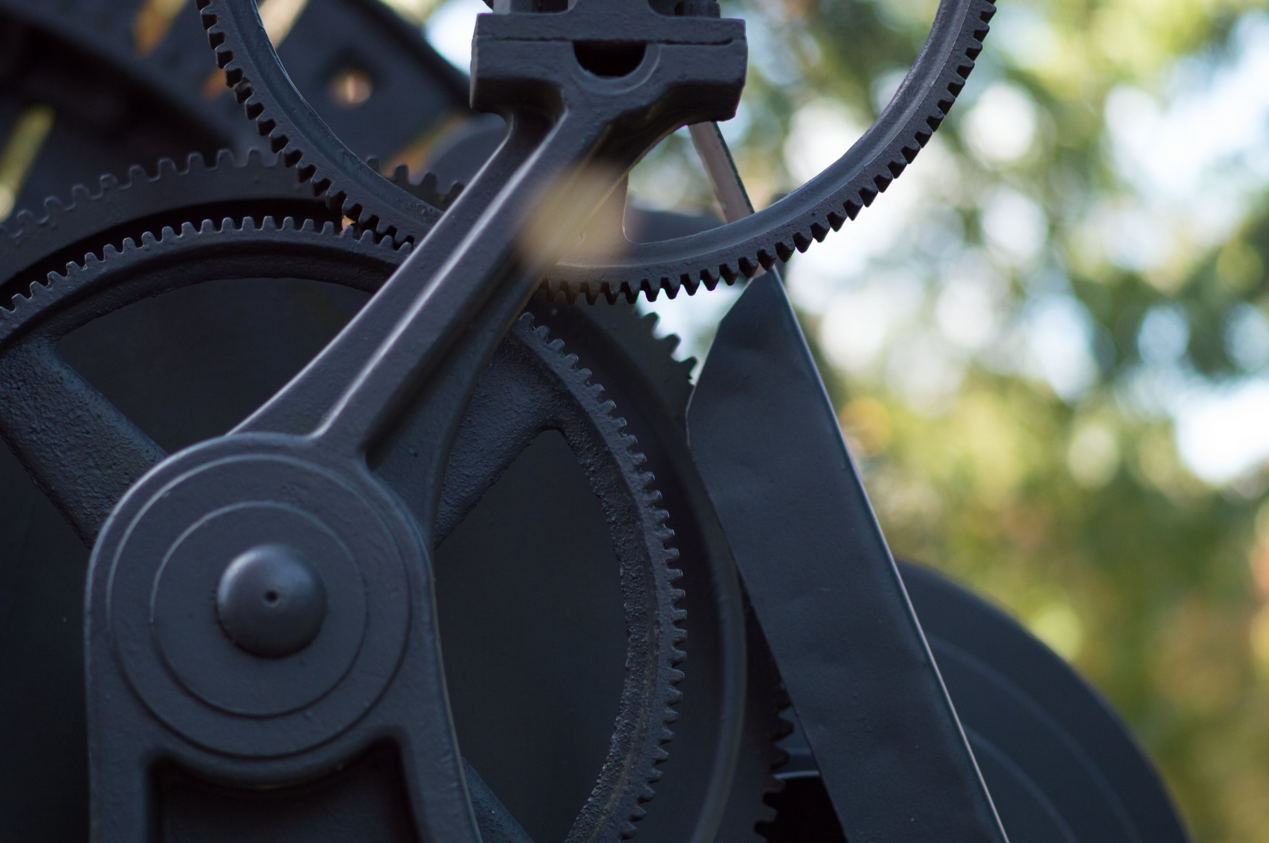 Gears have teeth and they fit together allowing the gears to turn