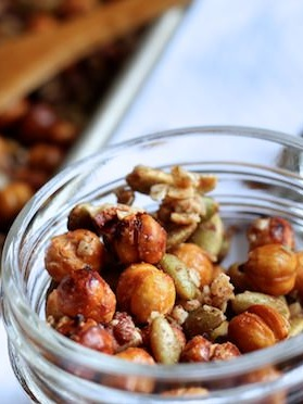 - Homemade granola made with roasted chickpeas by Happy Hooligans.