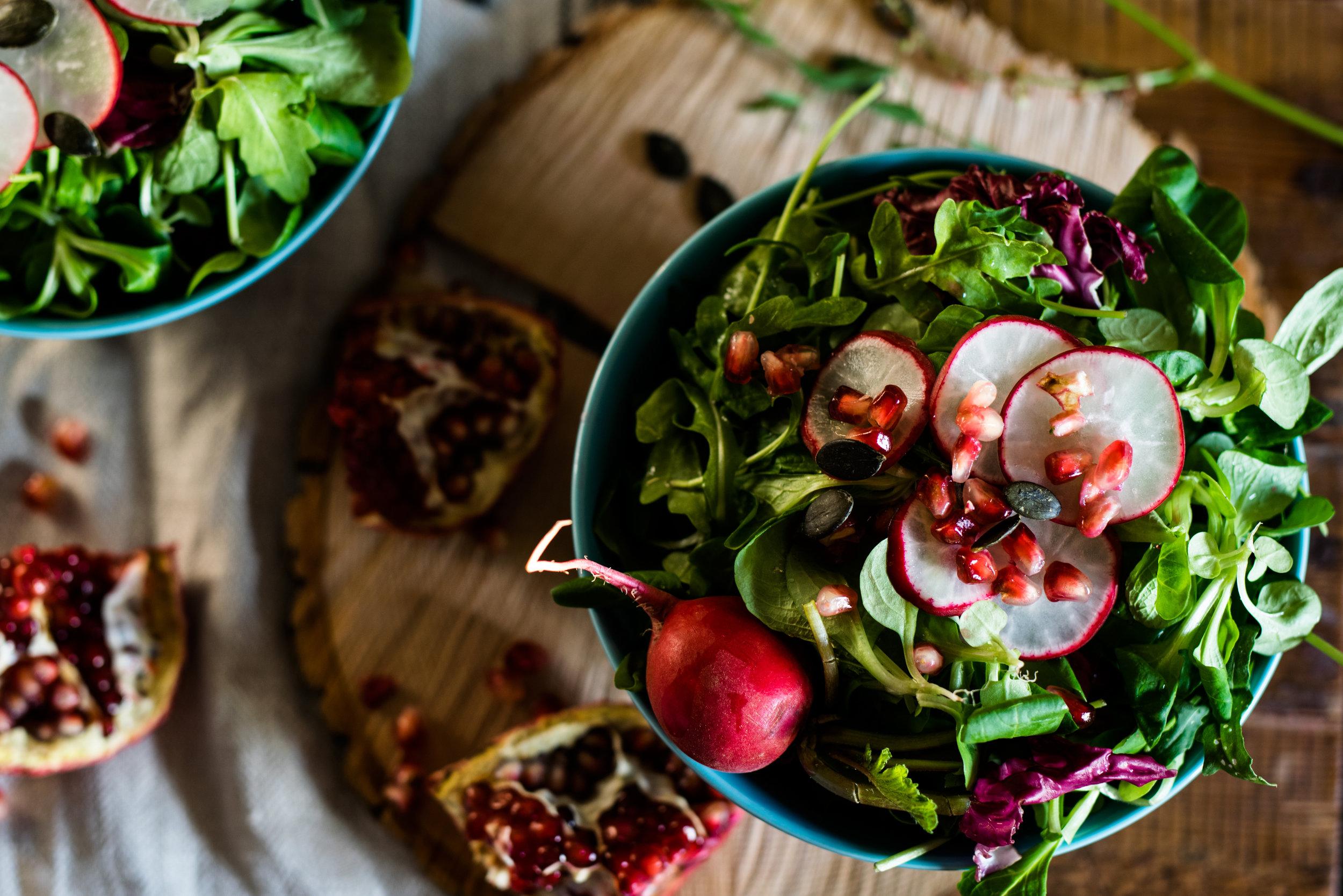Salad bowls and radishes