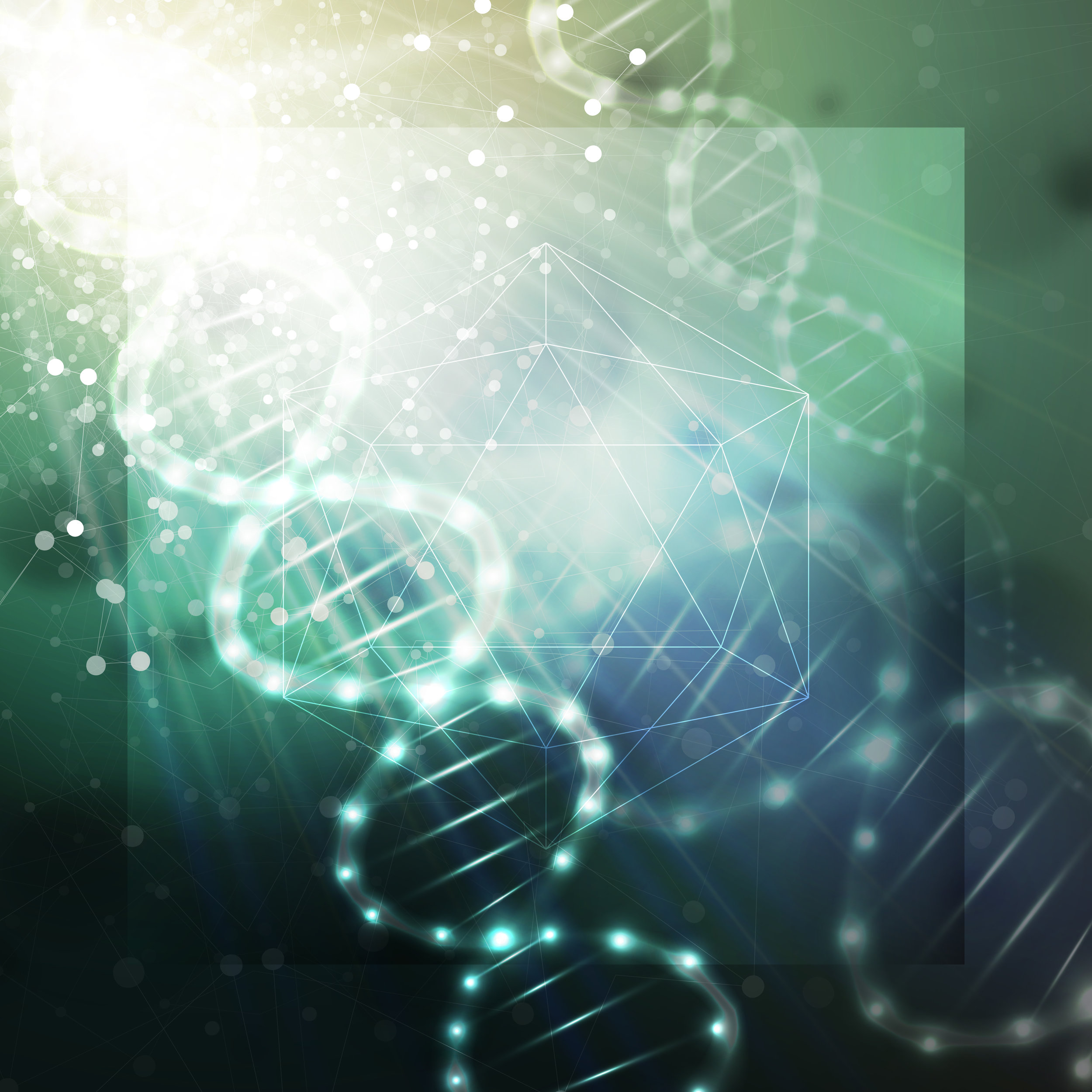 DNA molecule structure on a green background. Science vector background