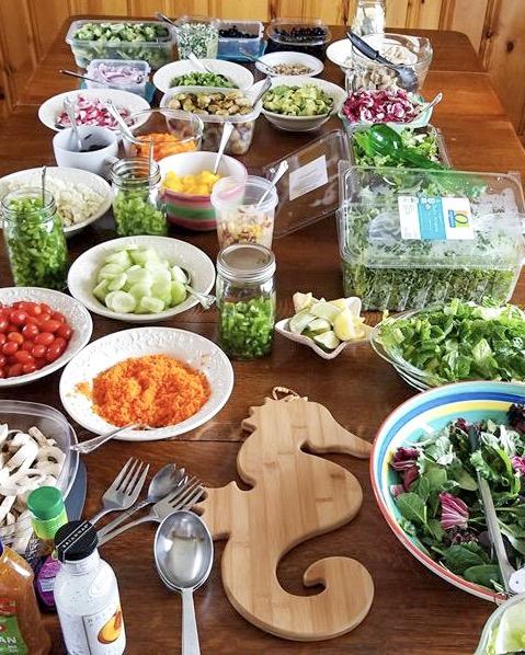 Salad items on a table