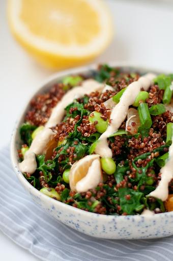 edamame quinoa salad and creamy cashew miso dressing