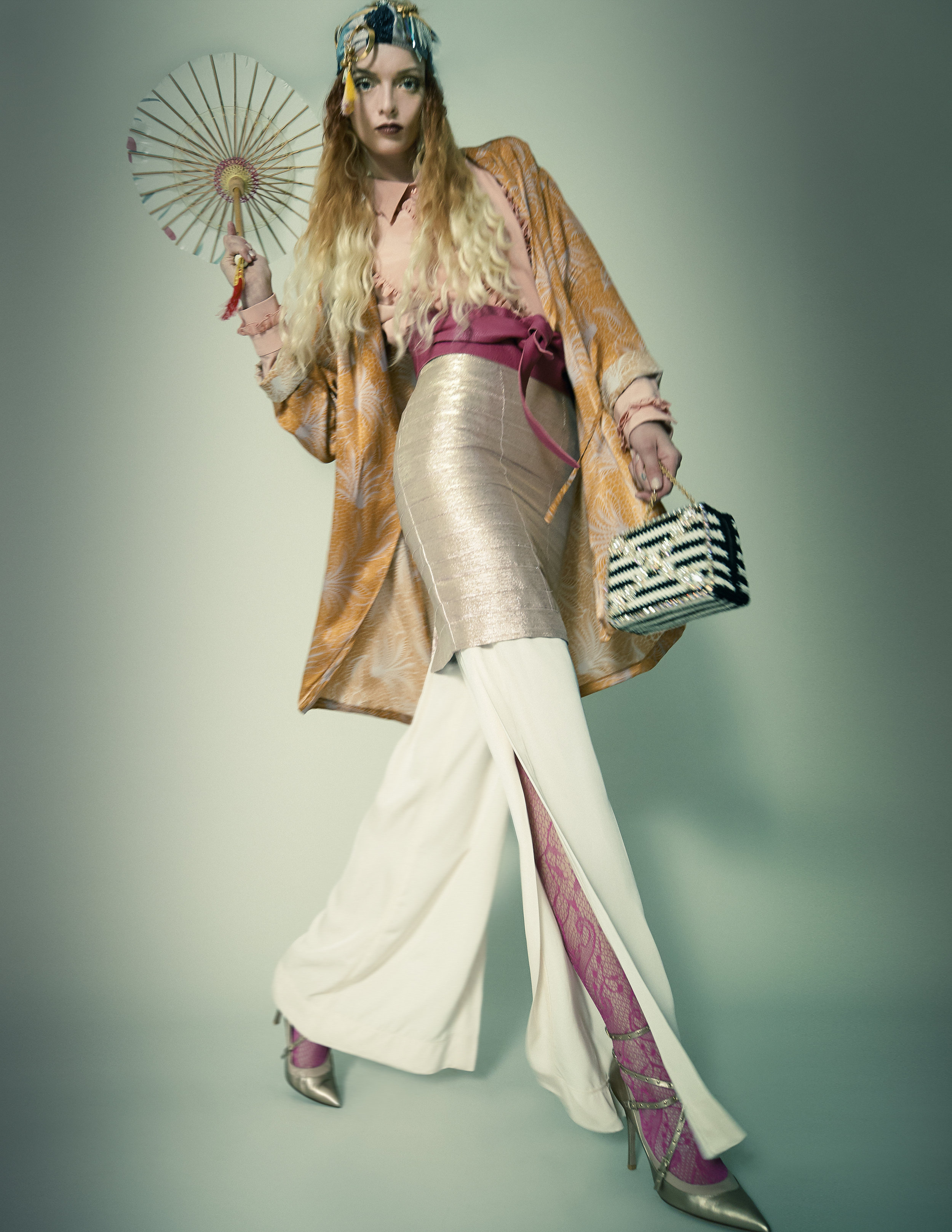 Shirt – RochasSkirt – Roseanna Trousers – Nenette Belt – Orciani Brooch – Chloé Necklace – Sciumé Headband – Circus Hotel Shoes – Valentino Kimono – Dries Van Noten Bag – Moschino