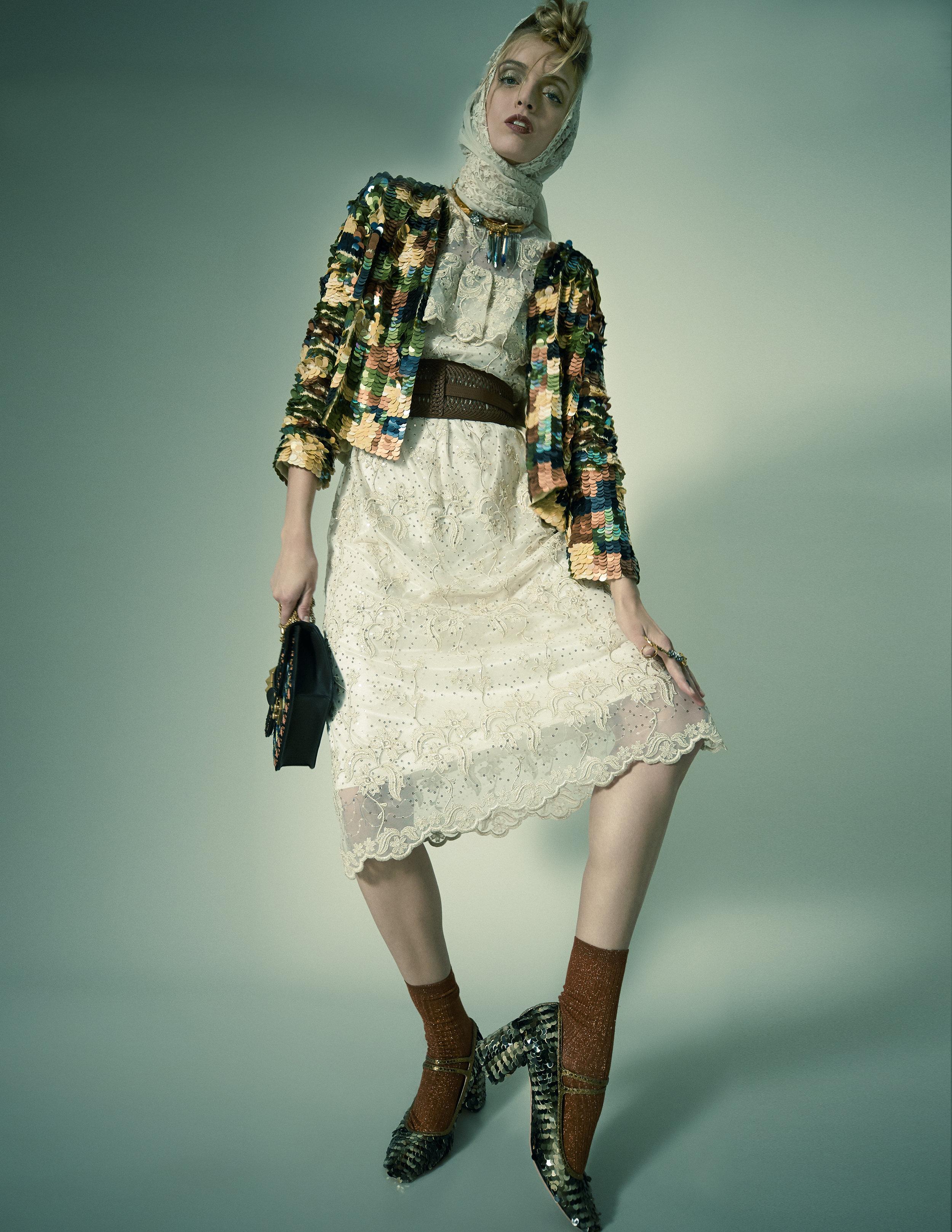 Dress – Soma Jacket – L'Autre Chose Scarf/foulard – Hidy N.G. Bag – ValentinoShoes – RochasRing – Sciumé