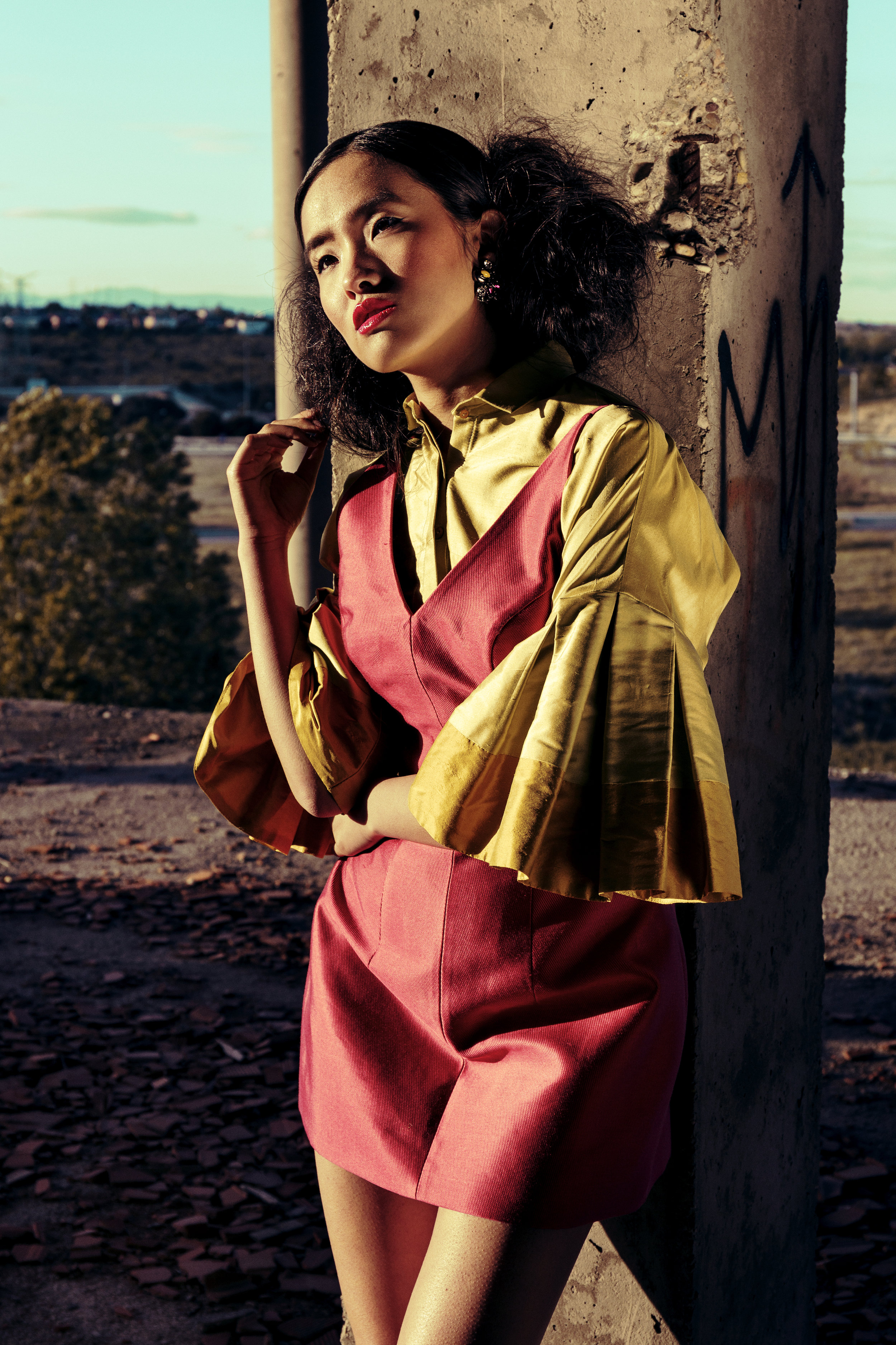 Fuchsia lulu dress made in mikado silk and blouse arant (made in wild silk) zara shoes