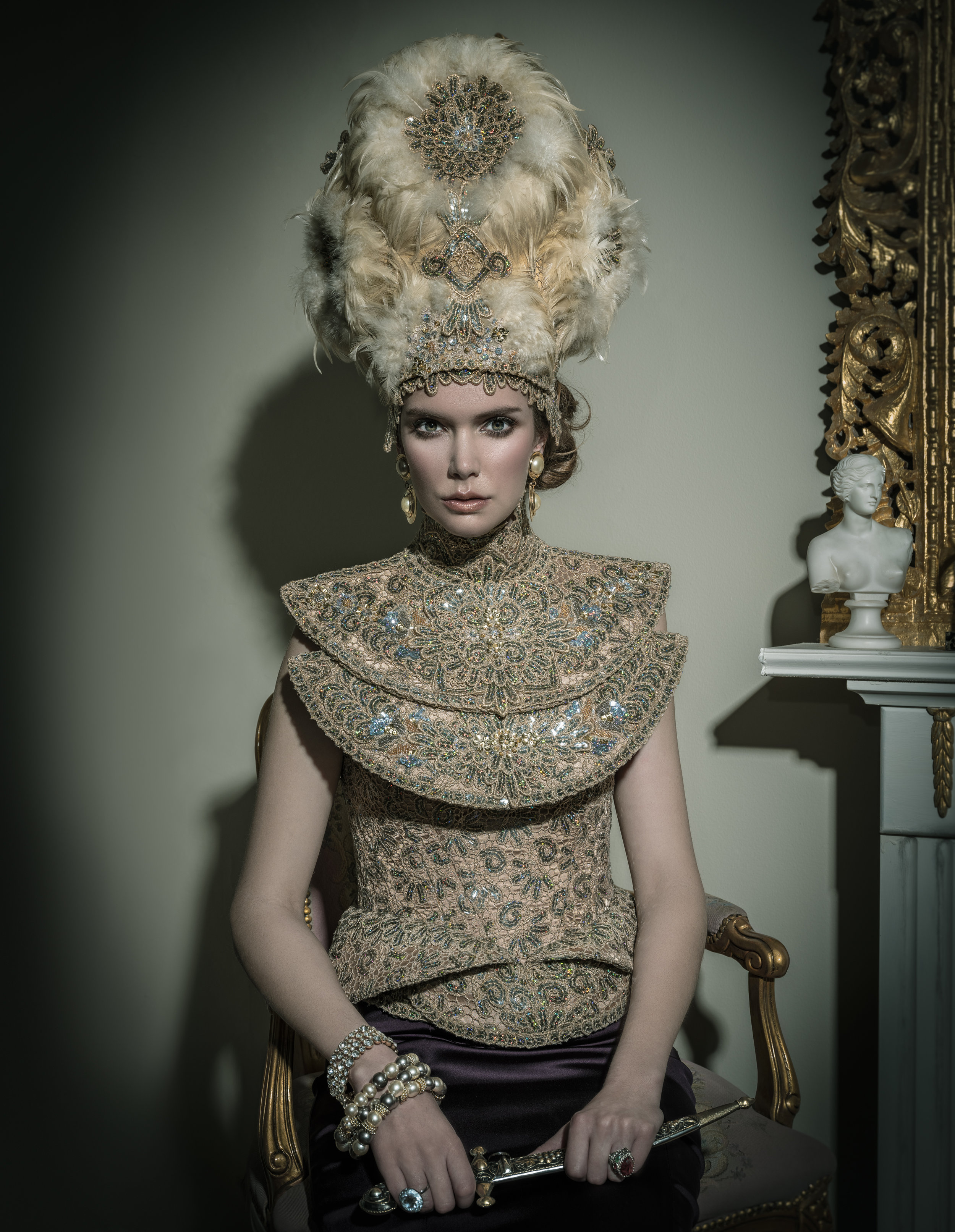 gown and headpiece: Marie Copps skirt: Terani jewellery: Penwarden,