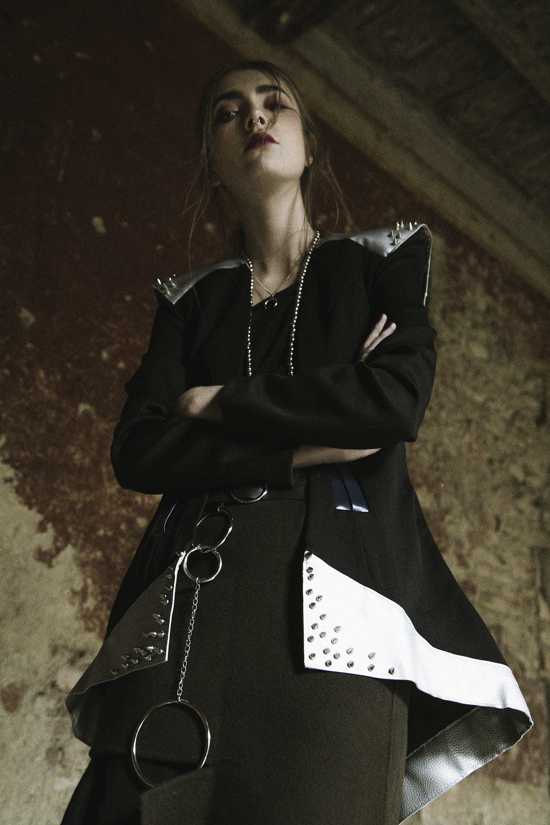 Jessica / Jacket: Sveva Parlato. Top: Lost&Found. Skirt: MM6. Necklaces: H&M and stylist's own. Belt: Topshop.