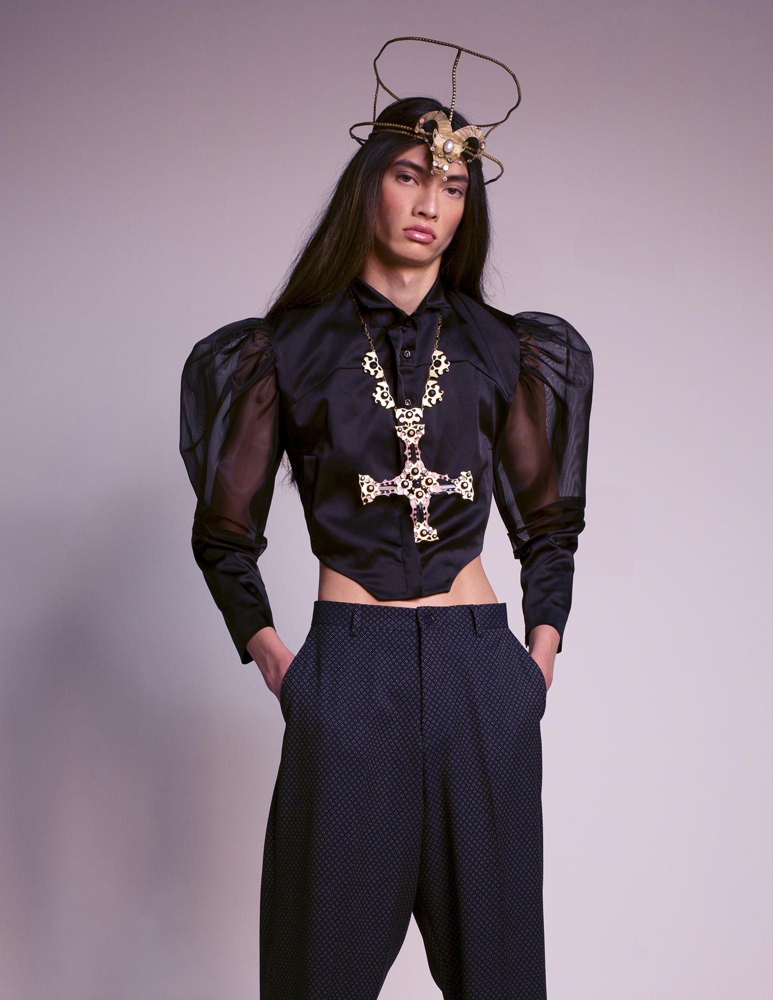 Black Puff Sleeve Top SADIE CLAYTON  Trousers ASOS DESIGN  Sandals DR MARTENS  Headpiece SLIM BARRETT  Cross Jeweled Necklace SLIM BARRETT