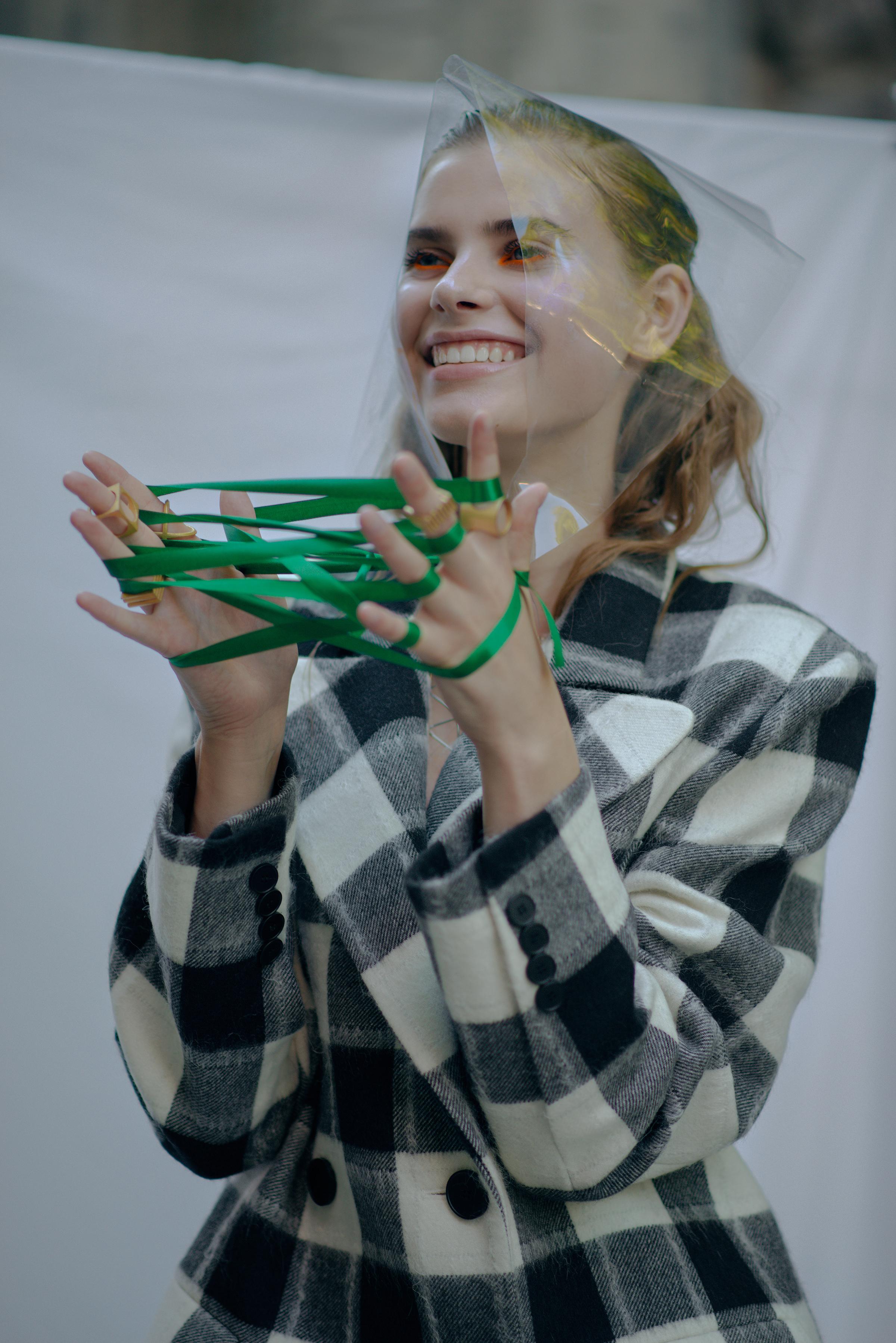 Jacket ELENAREVA Babushka Stylist's own Necklace Stylist's own Rings ABCDRINGS