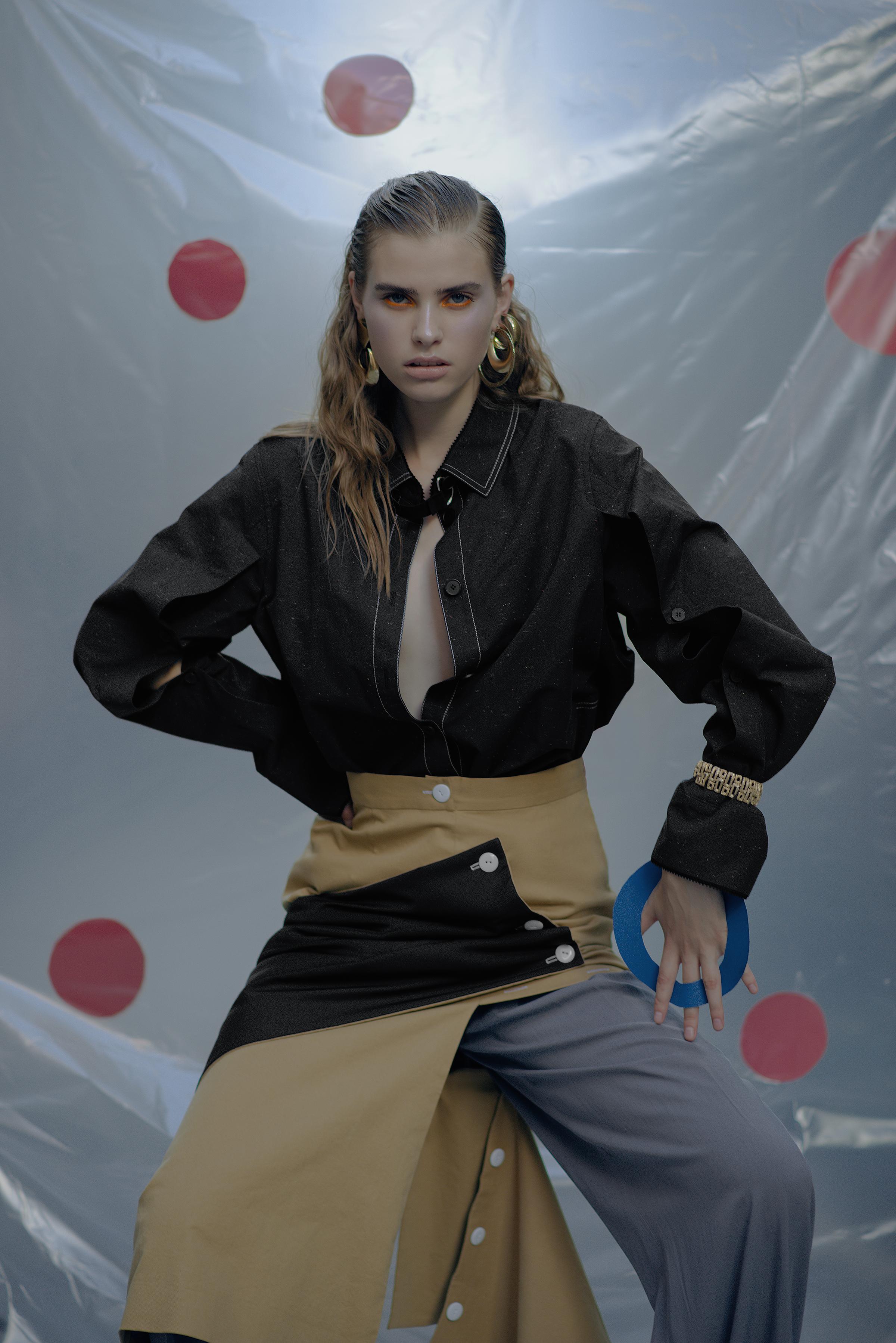 Parka PRZHONSKAYA Skirt CHAKSHYN  Pants WHATEVER  Bracelet Stylist's own Earrings Stylist's own