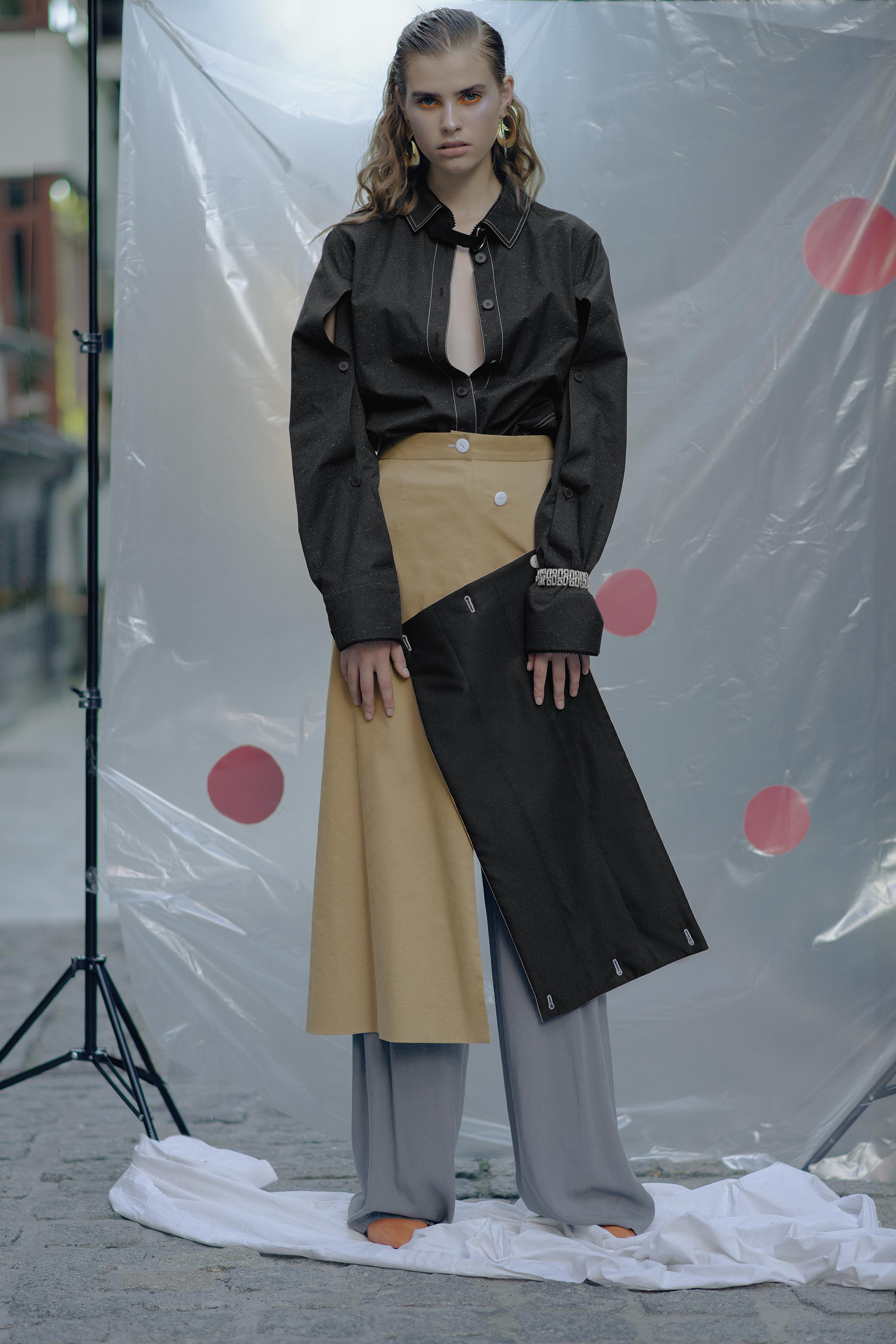 Parka PRZHONSKAYA Skirt CHAKSHYN  Pants WHATEVER  Bracelet Stylist's own Earrings Stylist's own Shoes PRZHONSKAYA & ALI SAULIDI