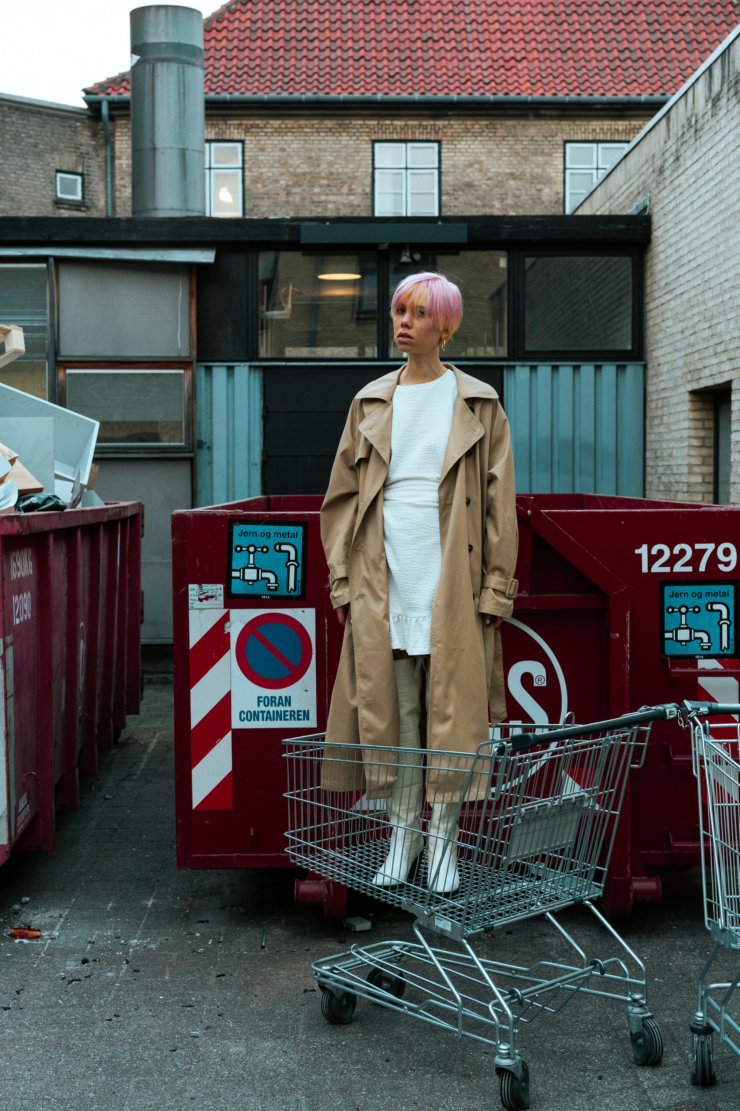 Trench Coat - Weekday Dress - H&M Boots - Ganni