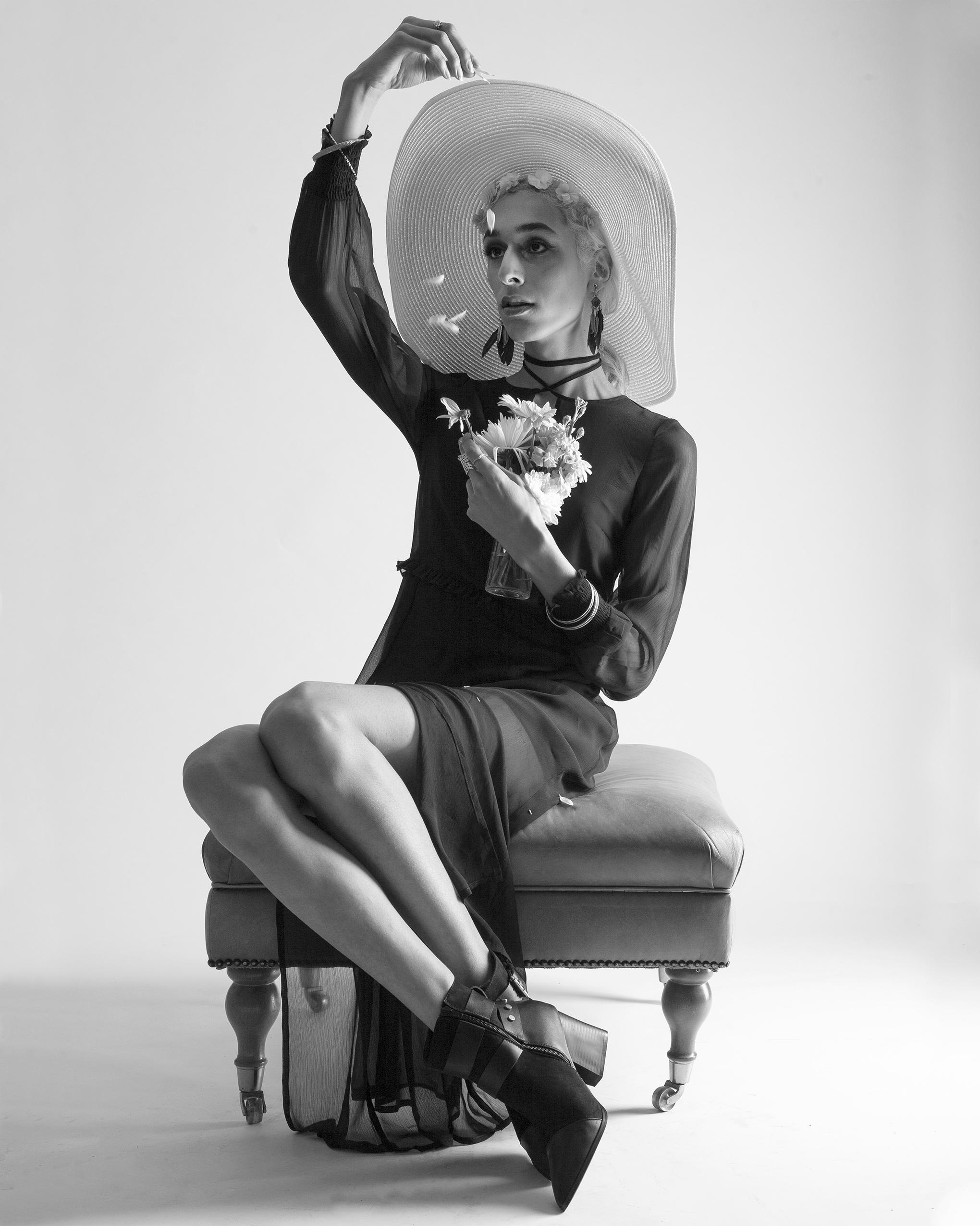Hat: LAWLIET Dress: VERO MODA chiffon sheer maxi dress Shoes: MODEL'S OWN