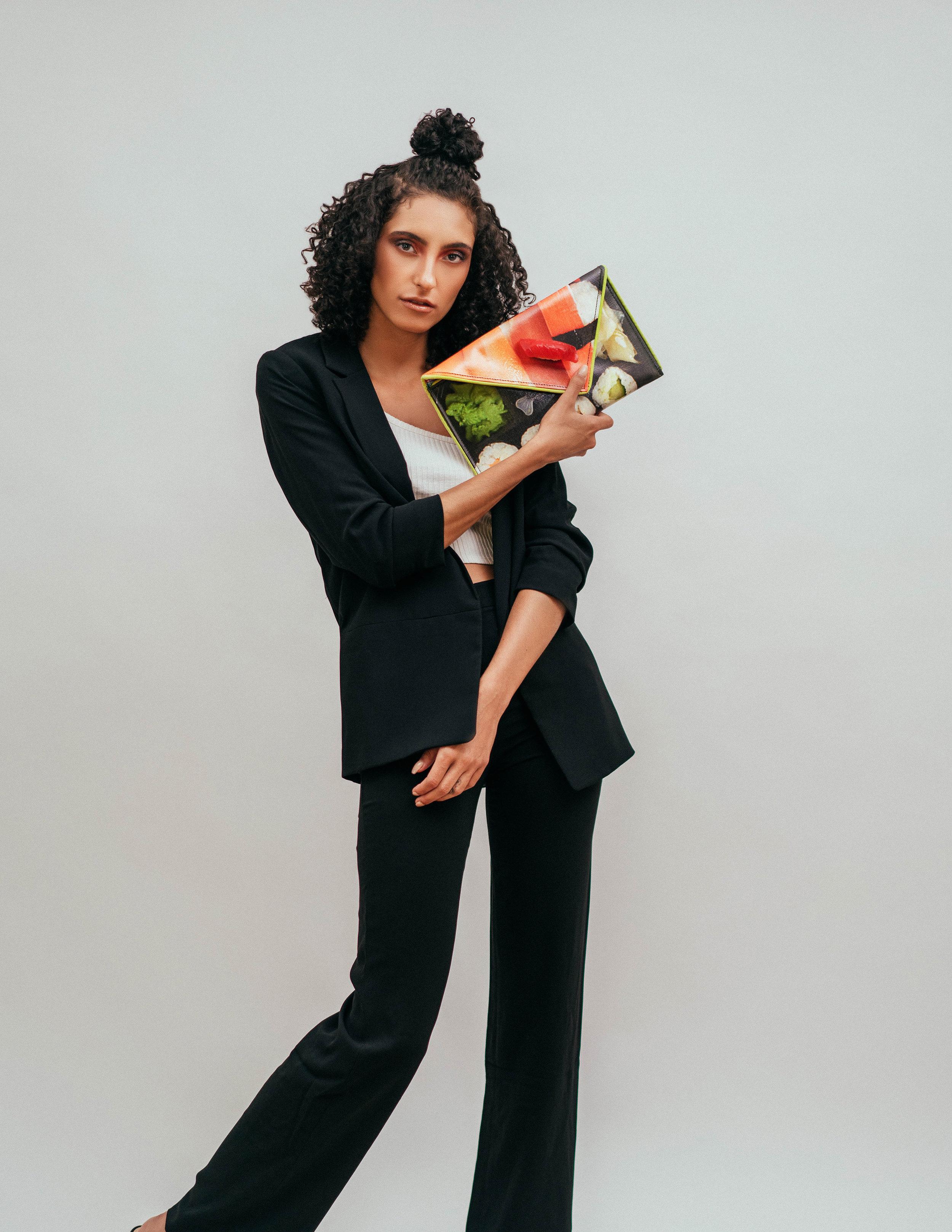Suit: Zara, Top: Asos, Handbag: Kent Stetson