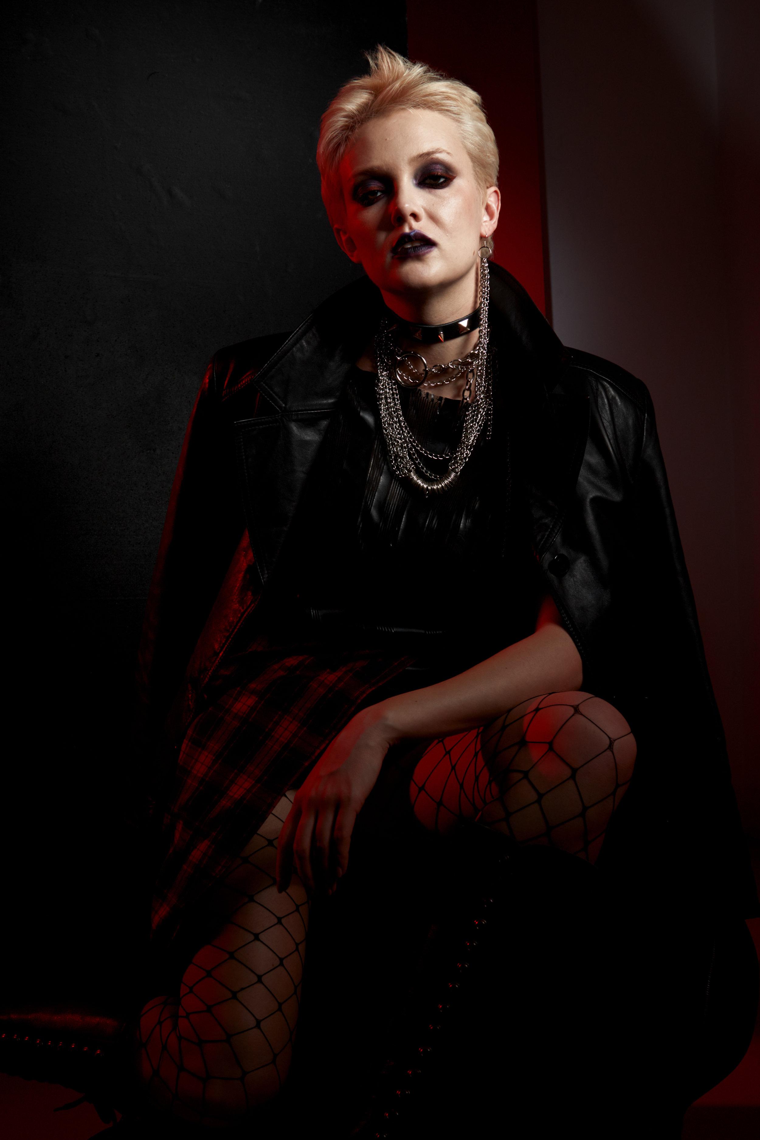 Leather jacket, leather coat, plaid skirt - Nadezda Sizova Leather T-shirt and dress - designer Nadezda Sizova Chains and shoes, boots, tights - Stylist property