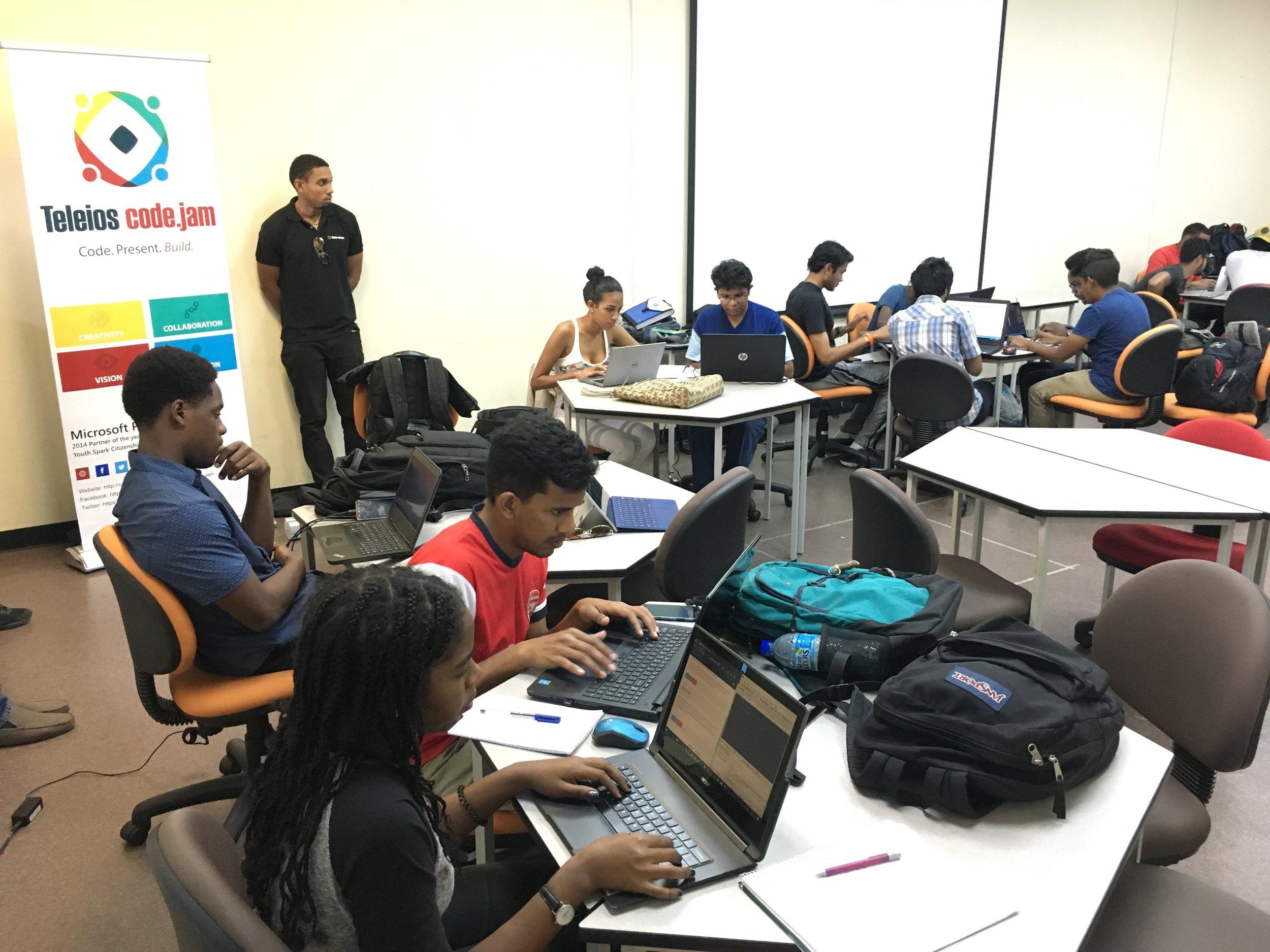 Teams engaged in Challenge 1 at UWI