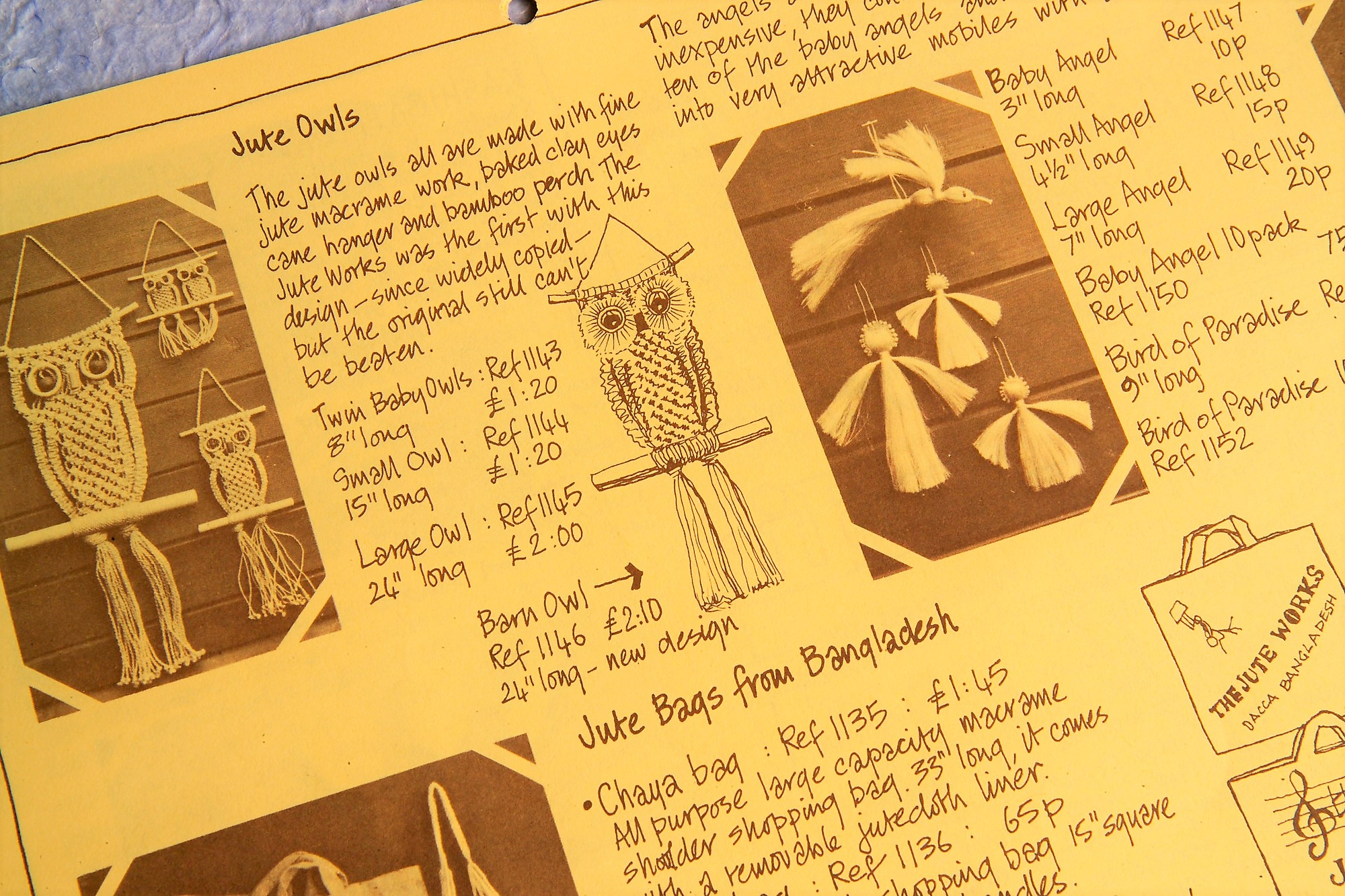 Traidcraft began selling fairly trading jute products from Bangladesh in our hand-drawn 1979 catalogue