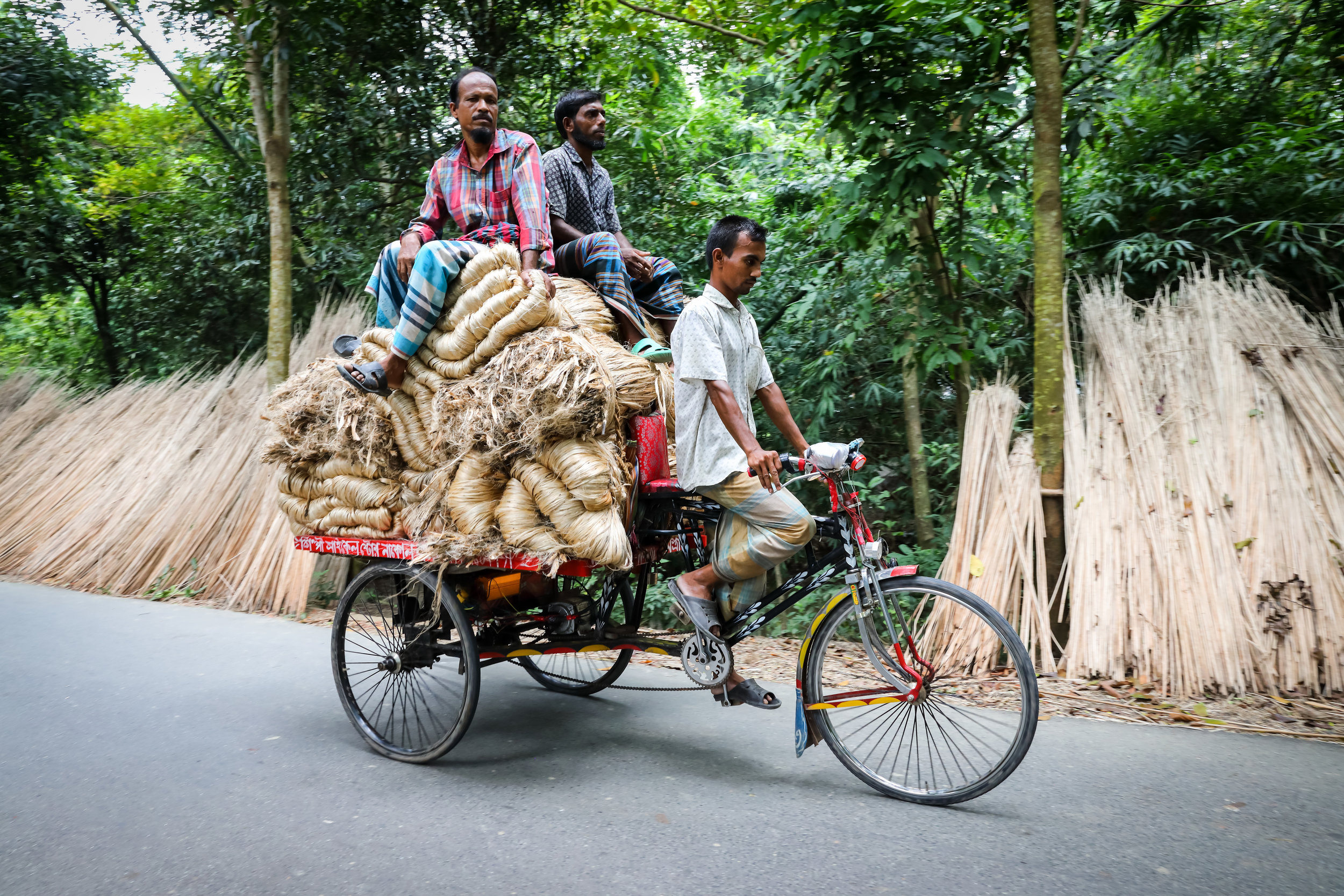 Men transport jute fibres by bicycle as part of a Traidcraft Exchange project in Bangladesh. Credit: Traidcraft Exchange/GMB Akash