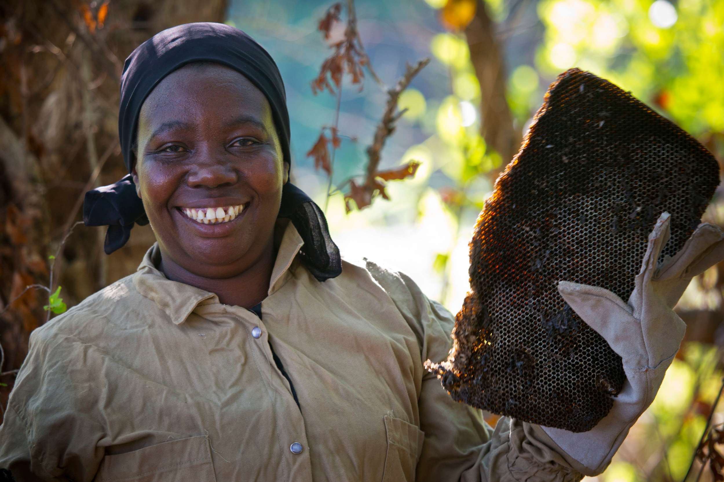 - Hadija, who took part in training sessions organised by Traidcraft Exchange, with her bee hives in Rufiji, Tanzania. Credit: Kate Holt