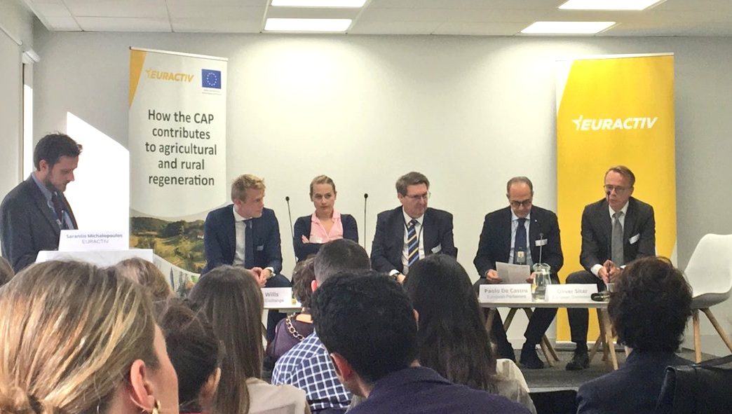 Tom Wills (left) joins a panel debate with MEPs and European Commission officials on the UTP Directive