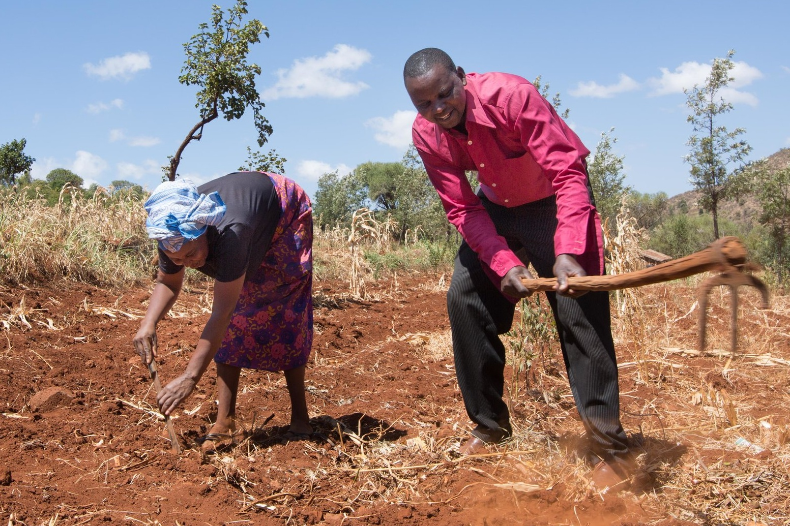- Husband and wife Misheck and Lucy, pictured here on their farm, are Hidden Entrepreneurs from Meru Country, Kenya. Credit: Traidcraft Exchange/Kevin Ouma