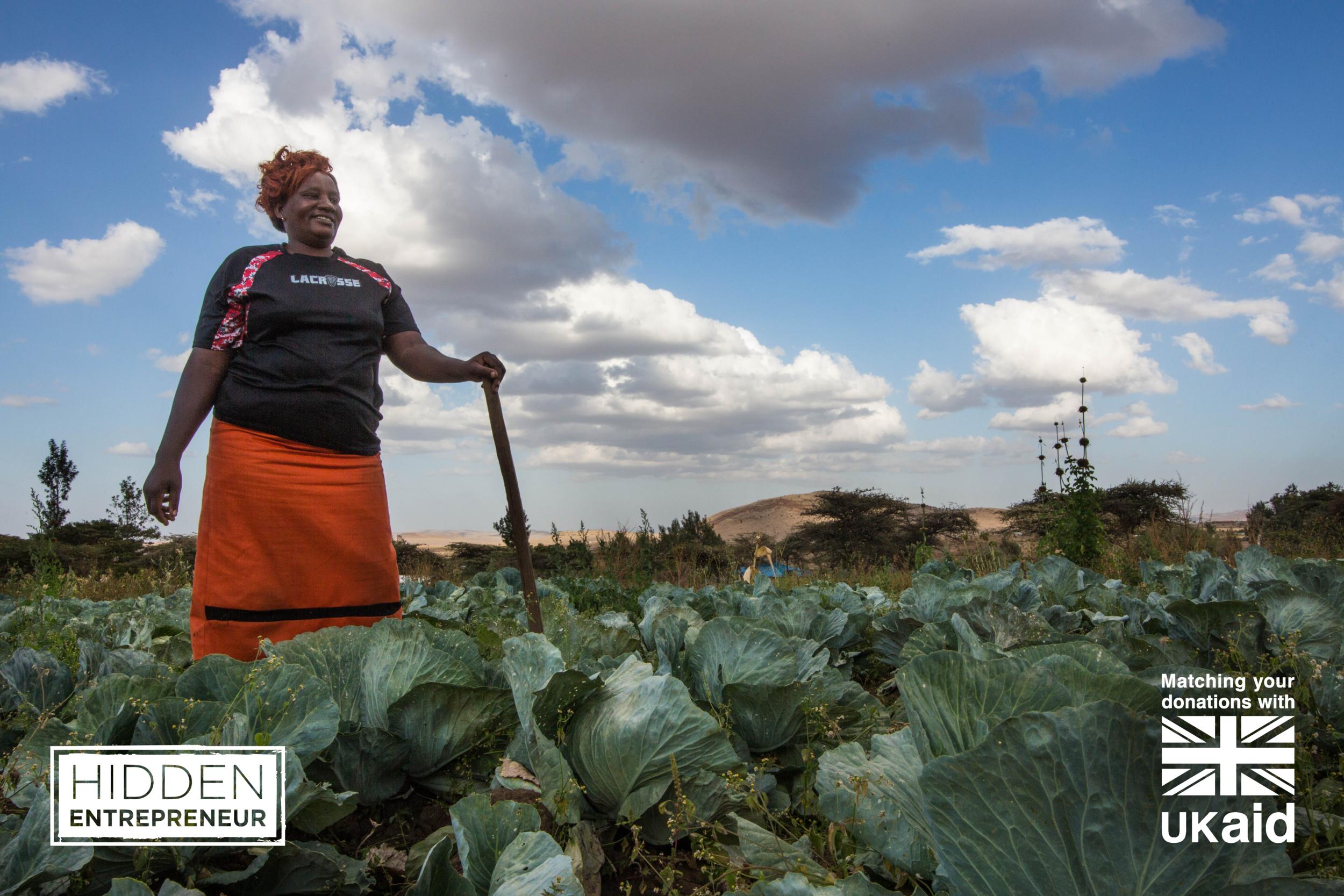 Gladys Gathoni on her farm in Buuri, Meru County, Kenya.  Credit: Traidcraft Exchange/Kevin Ouma