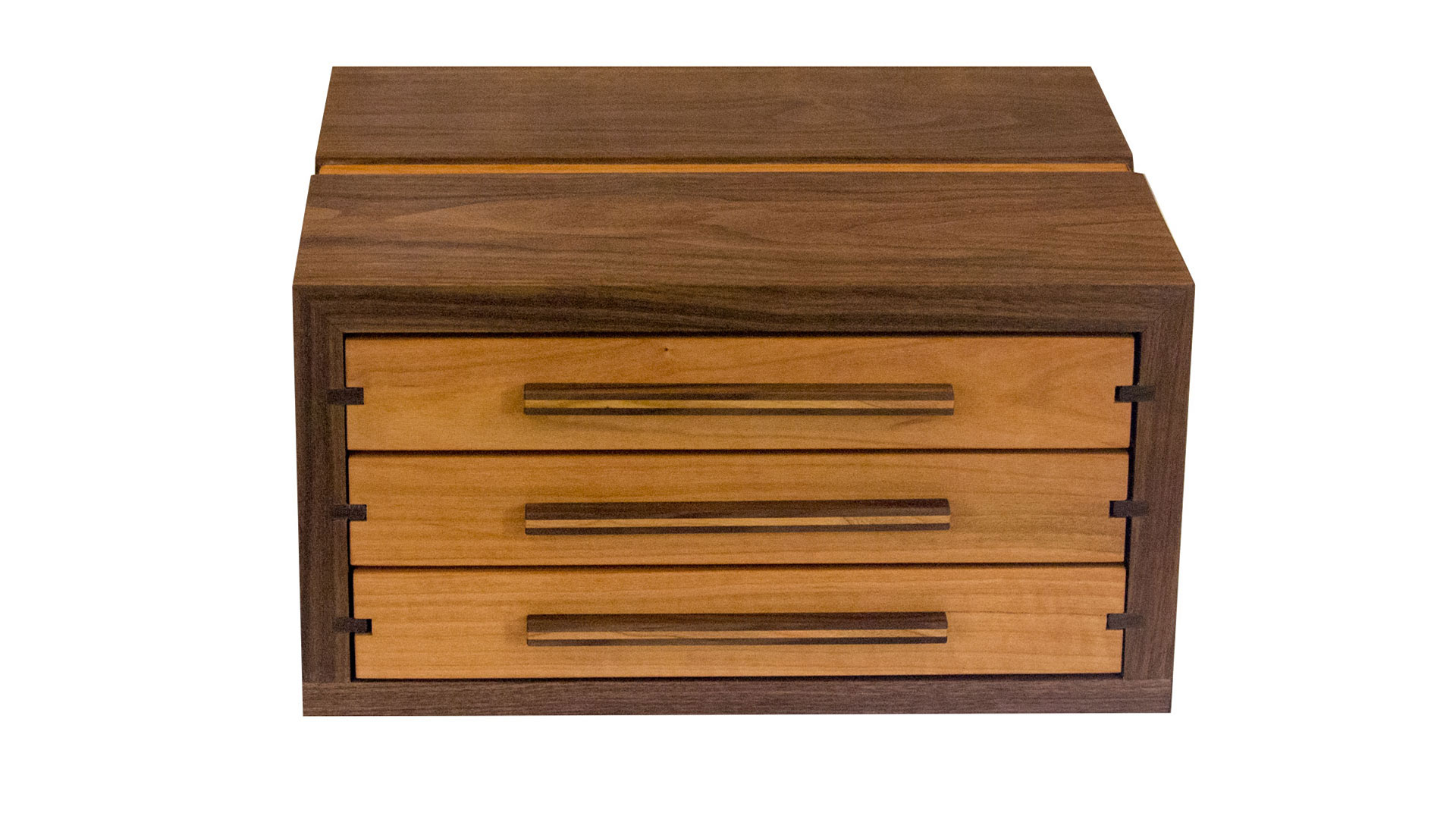 tower jewelry chest - Available with either 3 or 4 velvet-lined drawers. Choose the divider options that best accommodate your needs. 240 square inches (3-drawer), 330 square inches (4-drawer) of storage space.As shown: Walnut and CherryDimensions: 12-1/2W x 11-1/2D x 9H (4-drawer)Price: from $399