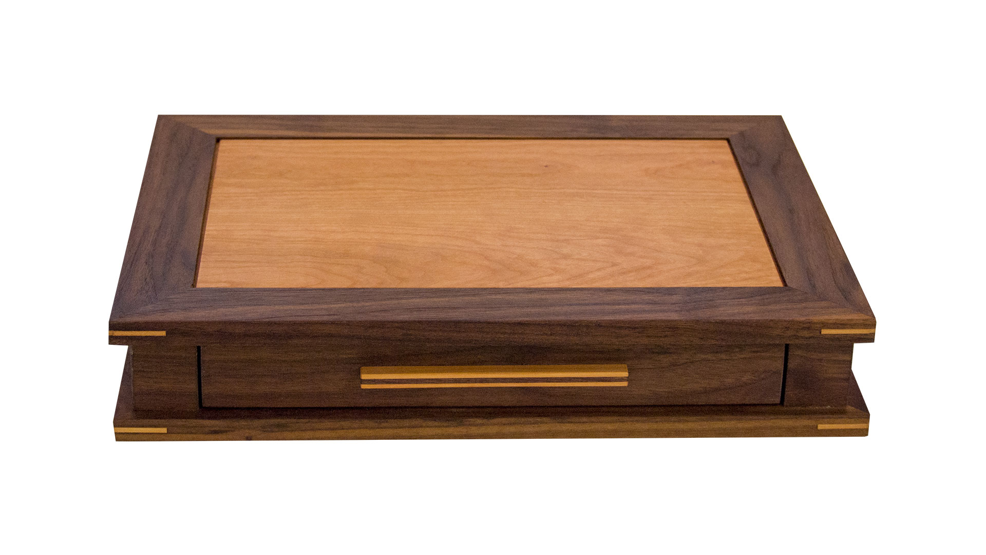 watch box JC - Available with 1, 2 or 3 velvet-lined drawers. Non-operating lid. Can house 4-24 watches depending on the configuration you choose.As shown: Walnut and CherryDimensions: 17-1/2W x 13D x 7H (3-drawer)Price: from $279