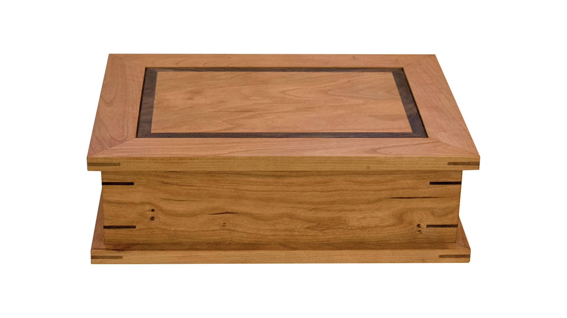 keepsake box - Sized to accommodate 8 1/2 x11 sheets of paper. Includes either a half-size or a full-size removable tray. Overall dimensions can be resized.As shown: Cherry and WalnutDimensions: 15W x 12D x 4 1/2HPrice: from $319