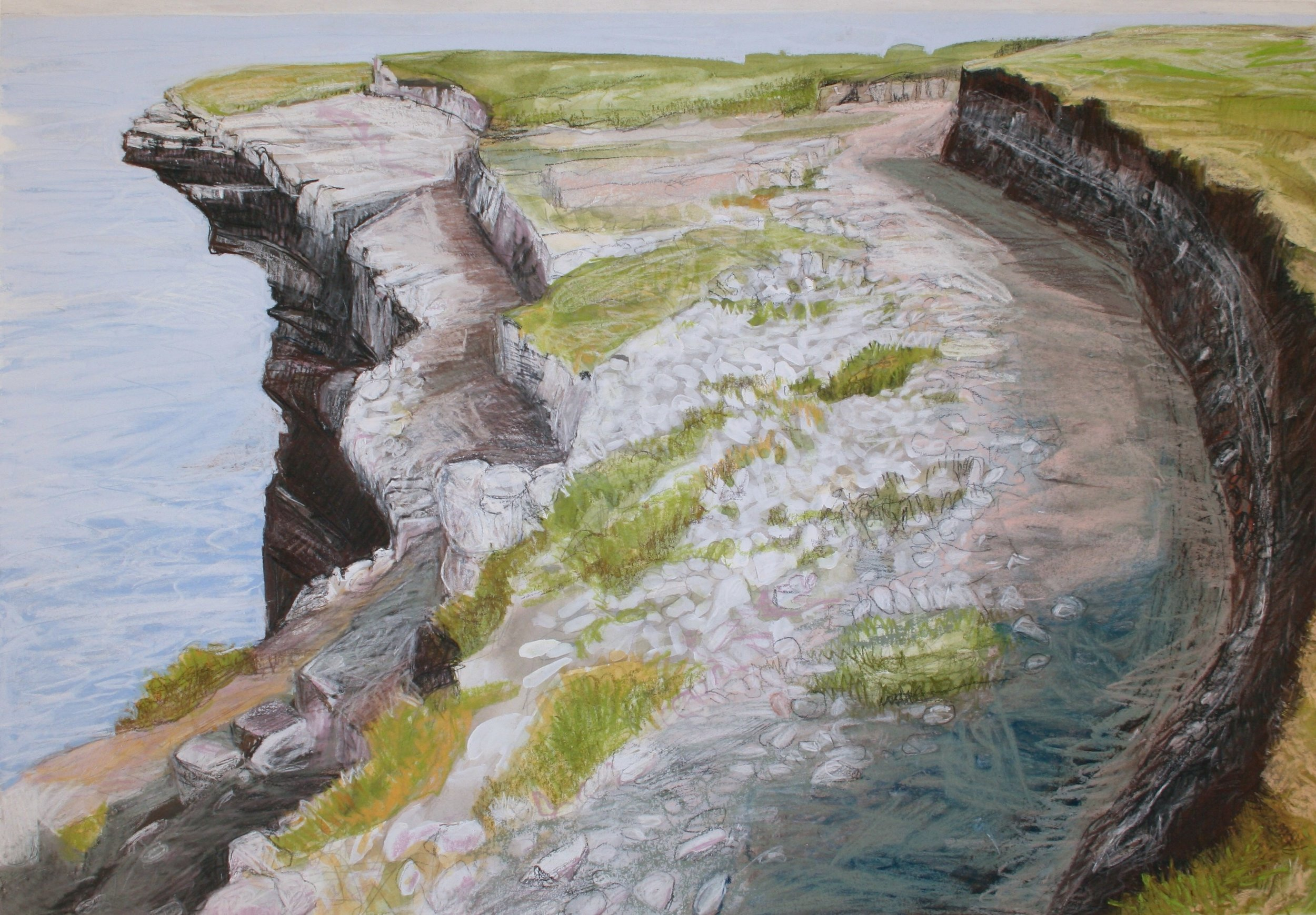 "Cliffs Edge, Mayo   Gouache/pastel, 14x20"", 2013"